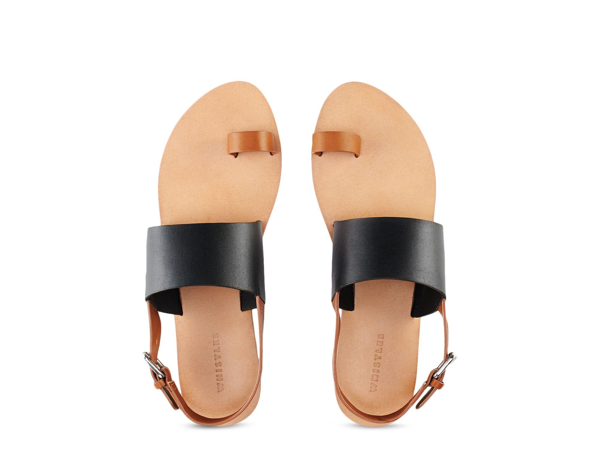 Whistles Flat Sandals Aralia Toe Ring Slingback In Brown