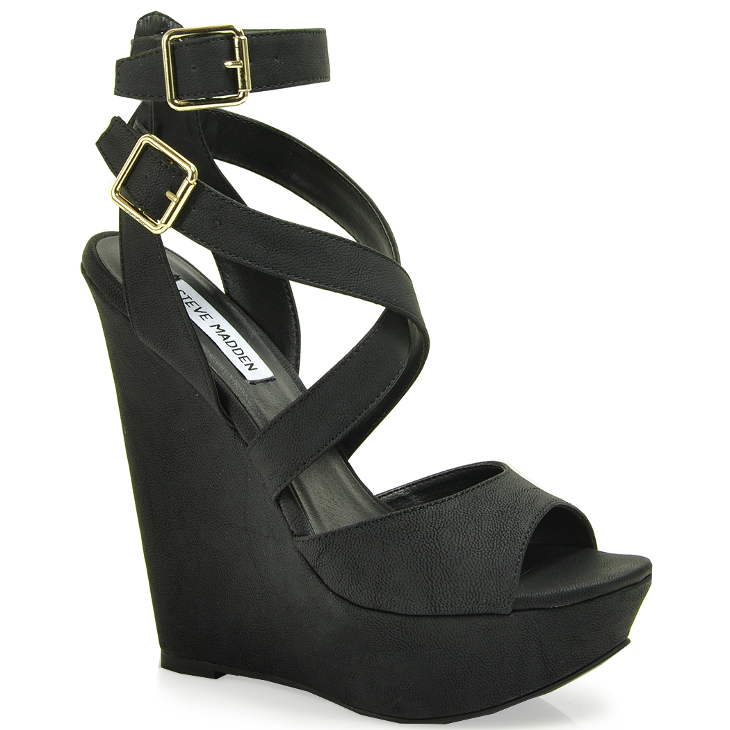 Lyst Steve Madden Xfoliate Wedge Sandal In Black