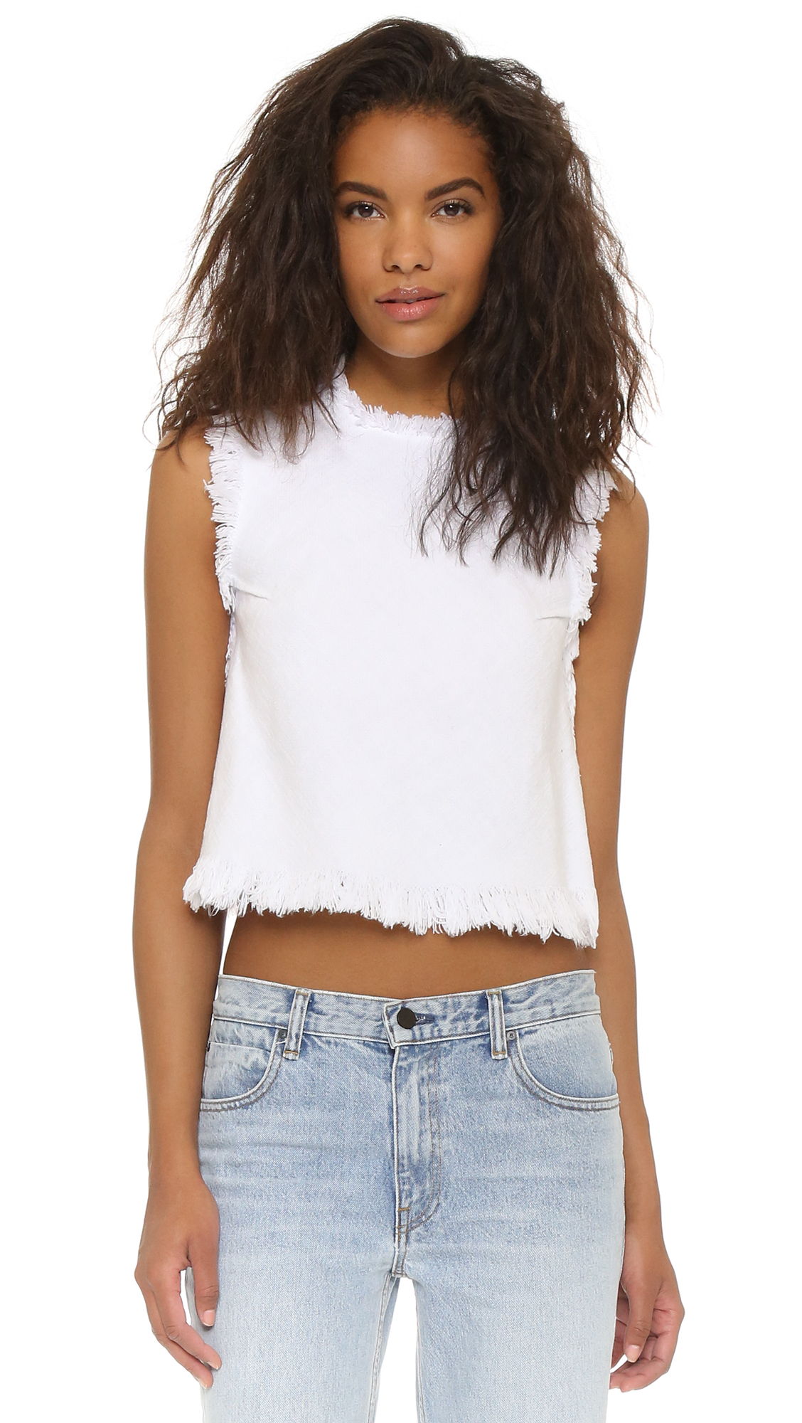 lyst t by alexander wang frayed sleeveless crop top in white. Black Bedroom Furniture Sets. Home Design Ideas