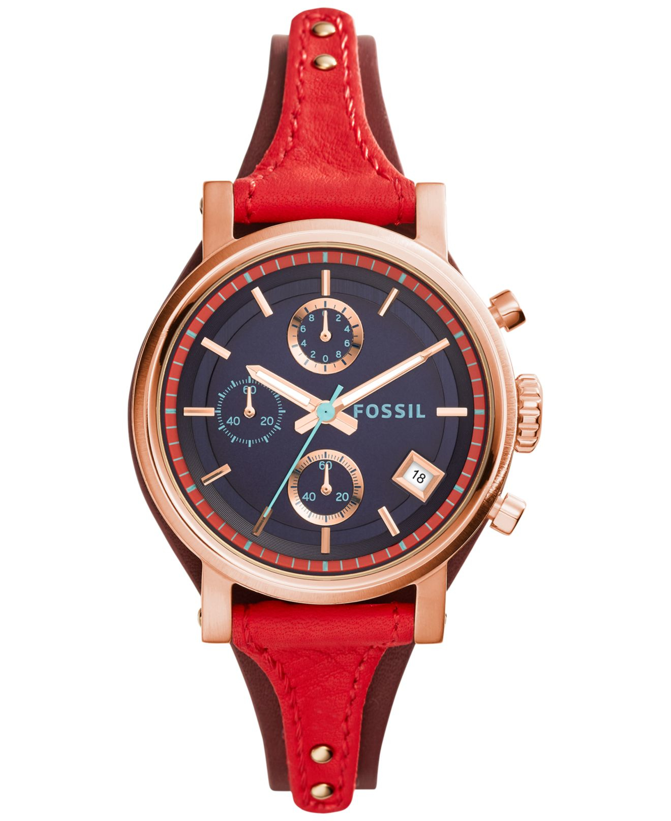 Lyst fossil women 39 s chronograph original boyfriend red for Nice watch for boyfriend