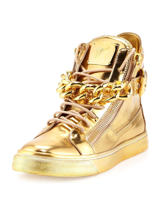 giuseppe zanotti blue & gold sneakers