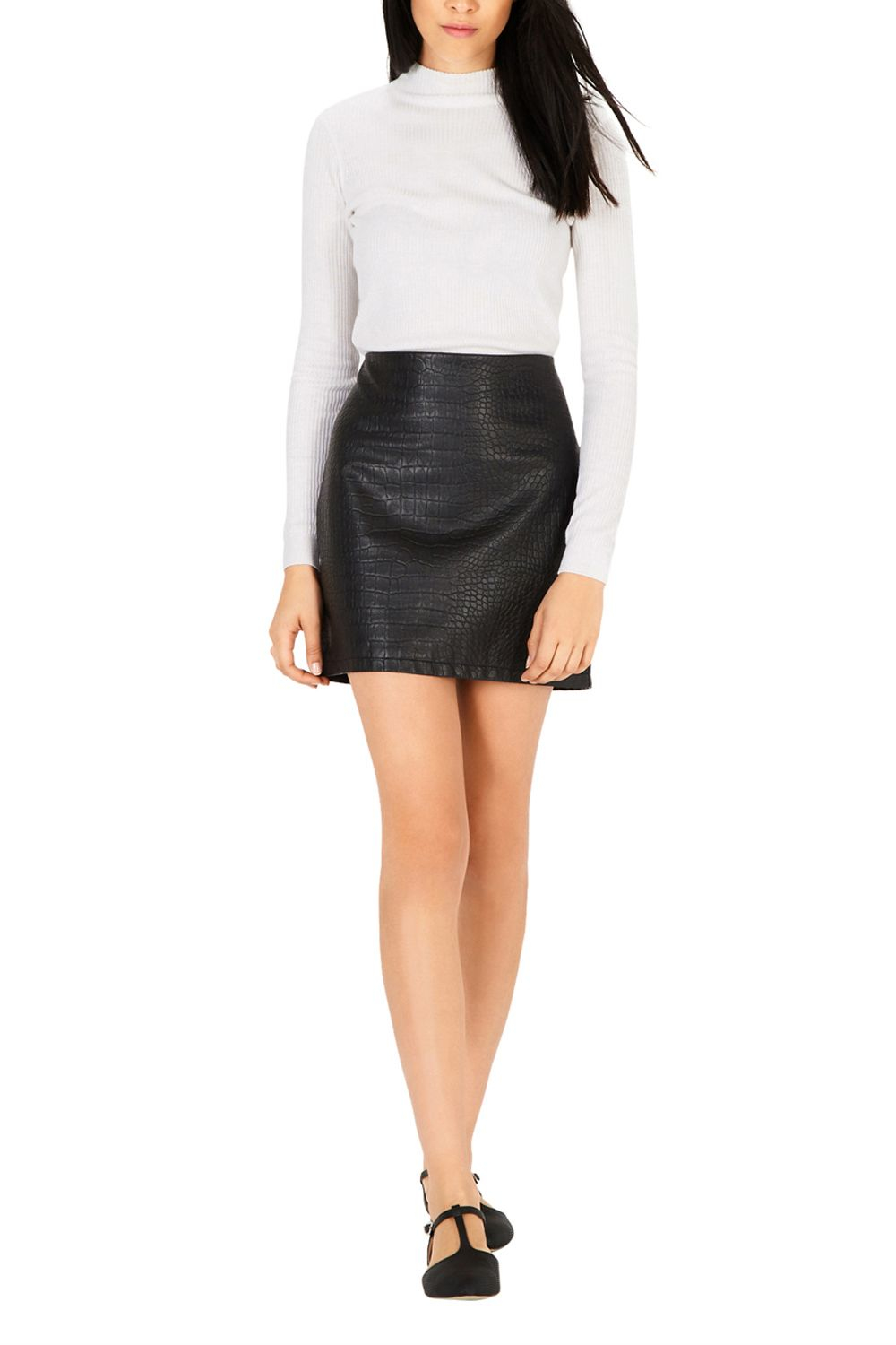Warehouse Croc Faux Leather Skirt in Black | Lyst