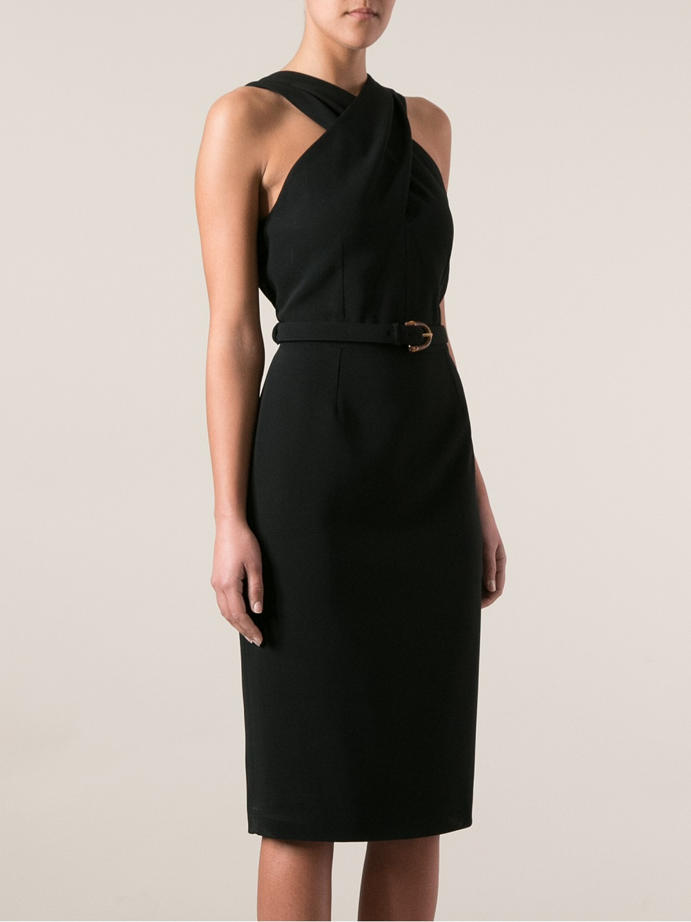 4b692c58d Gucci Belted Waist Dress in Black - Lyst