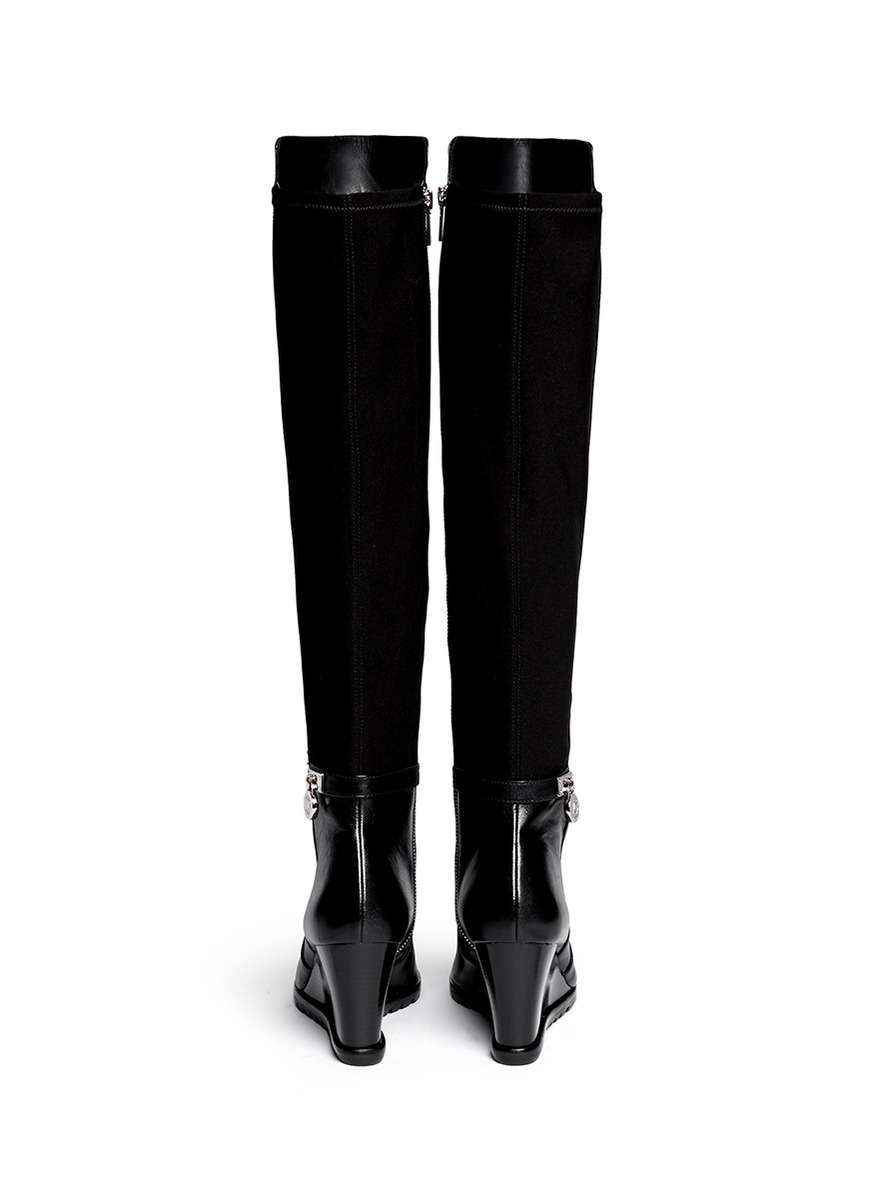 96daaaddd574 Lyst - Michael Kors Hamilton  Stretch Back Wedge Boots in Black