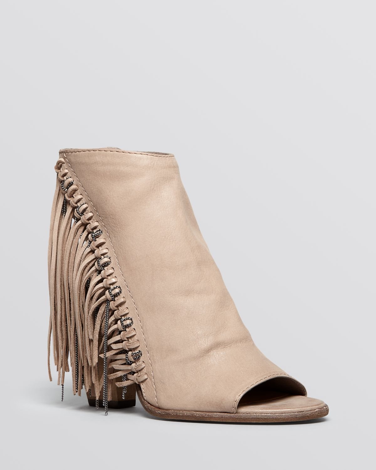 Dolce vita Open Toe Booties - Noralee Fringe in Gray | Lyst