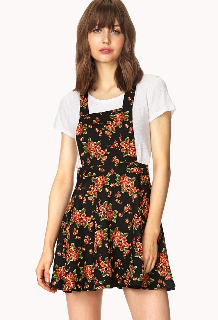 Forever 21 Sweetest Flower Overall Dress In Orange Lyst