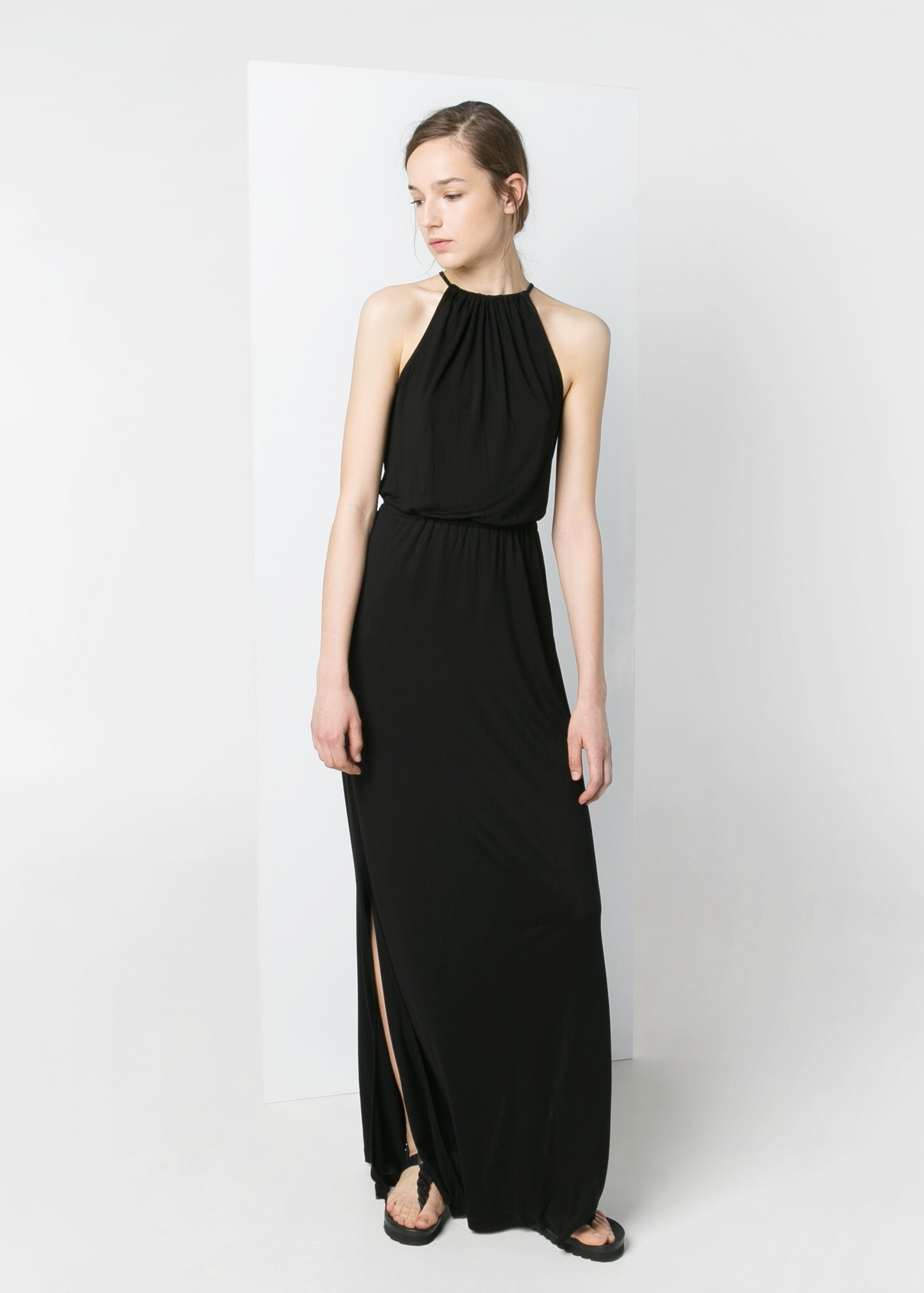 Mango Halter Long Dress in Black | Lyst