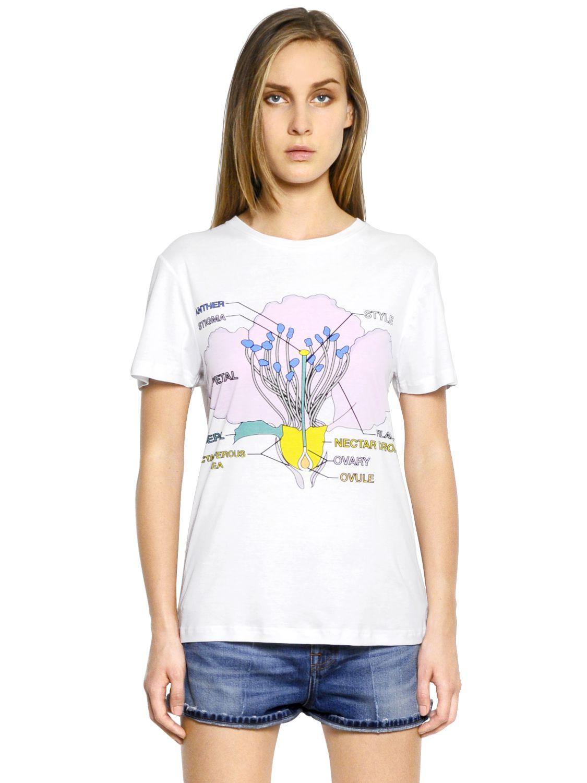 Christopher Kane Flower Anatomy Print Cotton T Shirt In