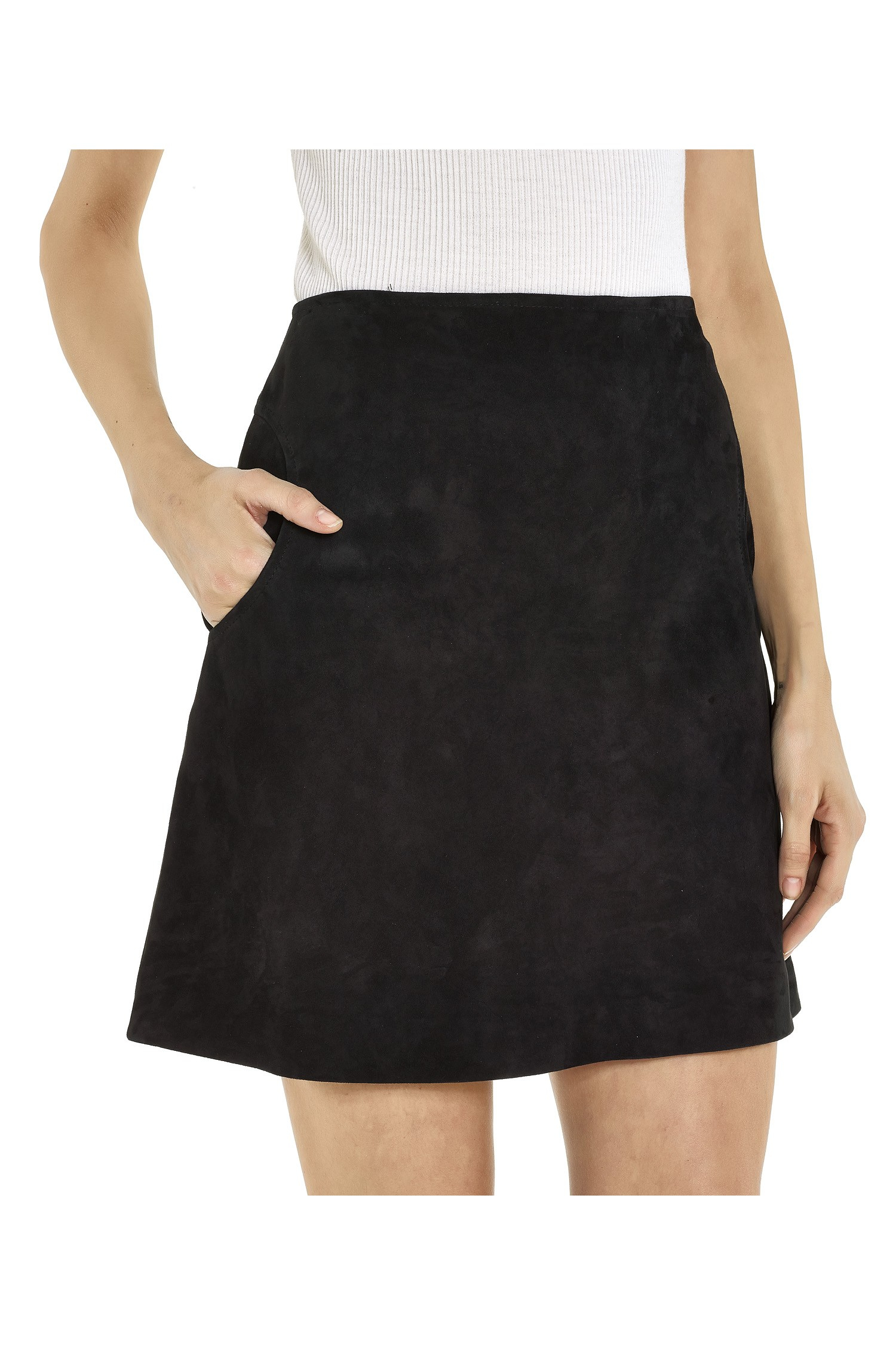 Lisa perry Suede Recess Skirt in Black | Lyst