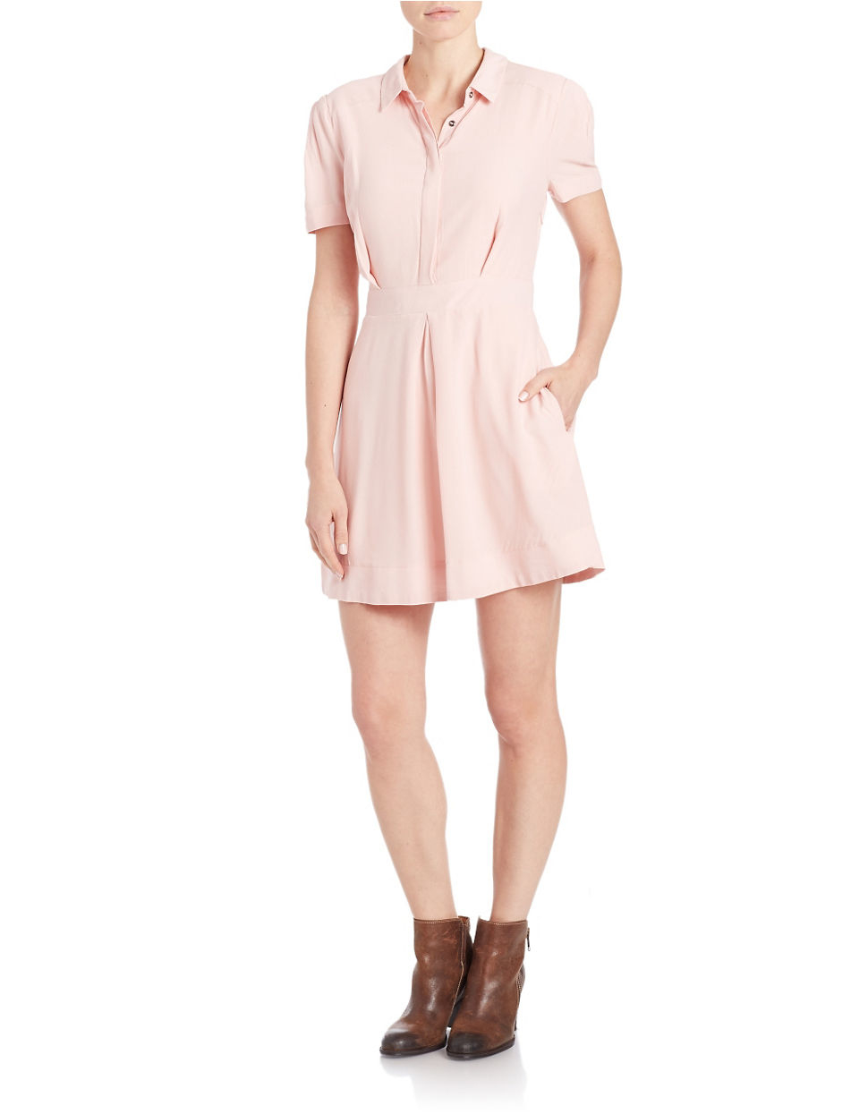 Lyst Free People Pleated Fit And Flare Shirtdress