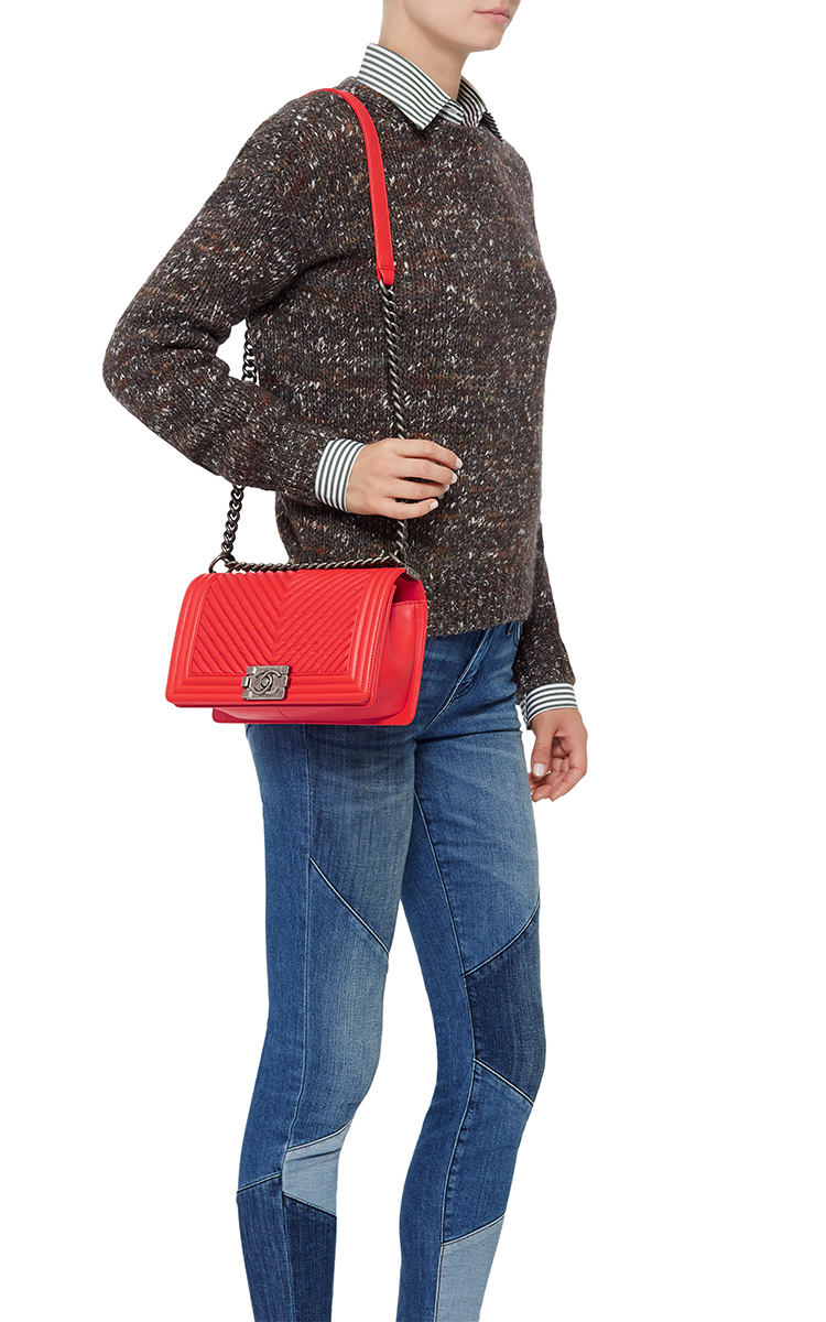 6e2156fa8e Madison Avenue Couture Chanel Orange Chevron Medium Boy Bag in Red ...