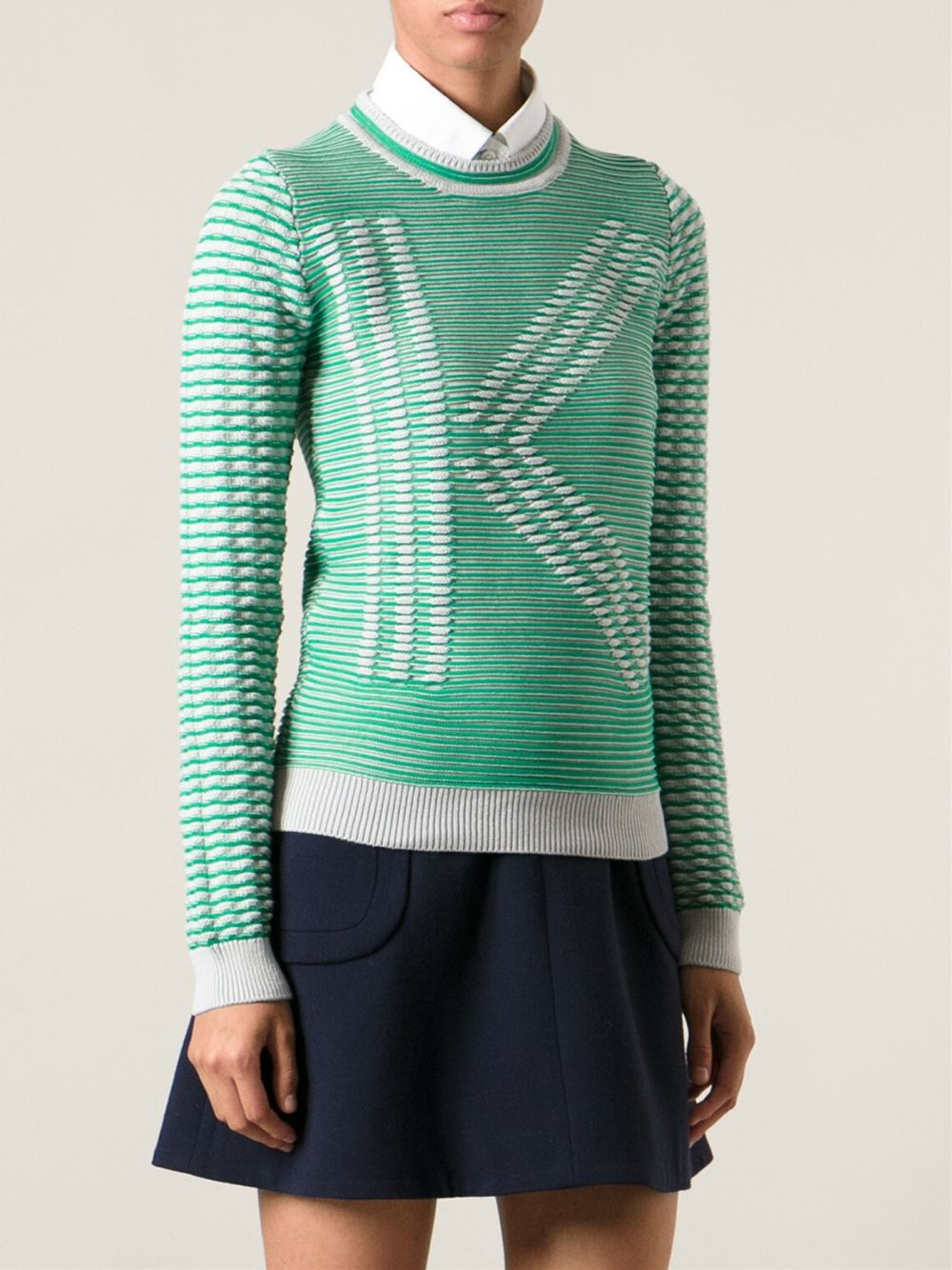 kenzo k ribbed intarsia sweater in green lyst. Black Bedroom Furniture Sets. Home Design Ideas
