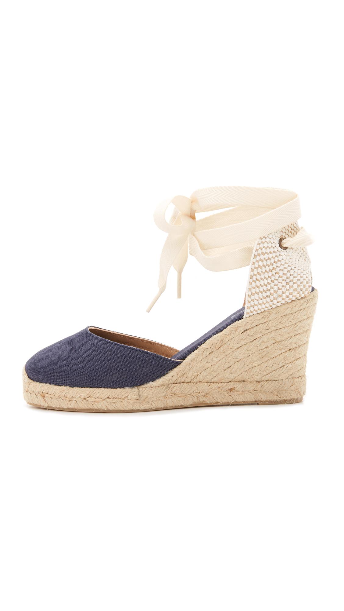 Navy Wedge Shoe Solid Heel