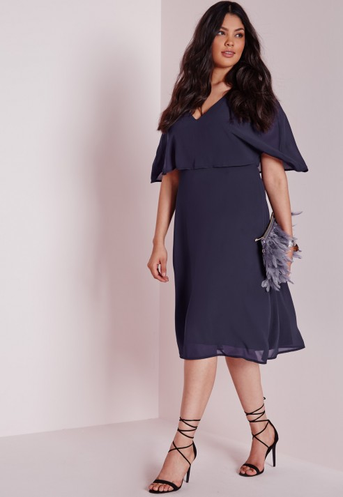 Missguided Plus Size Midi Dress Navy in Blue | Lyst