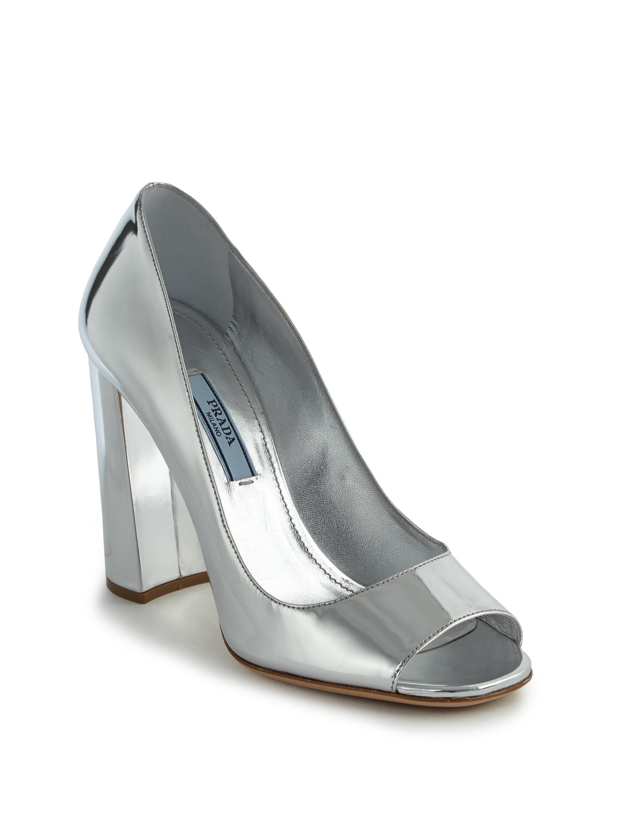 3ccb895bade9 Lyst - Prada Metallic Leather Peep-toe Pumps in Metallic