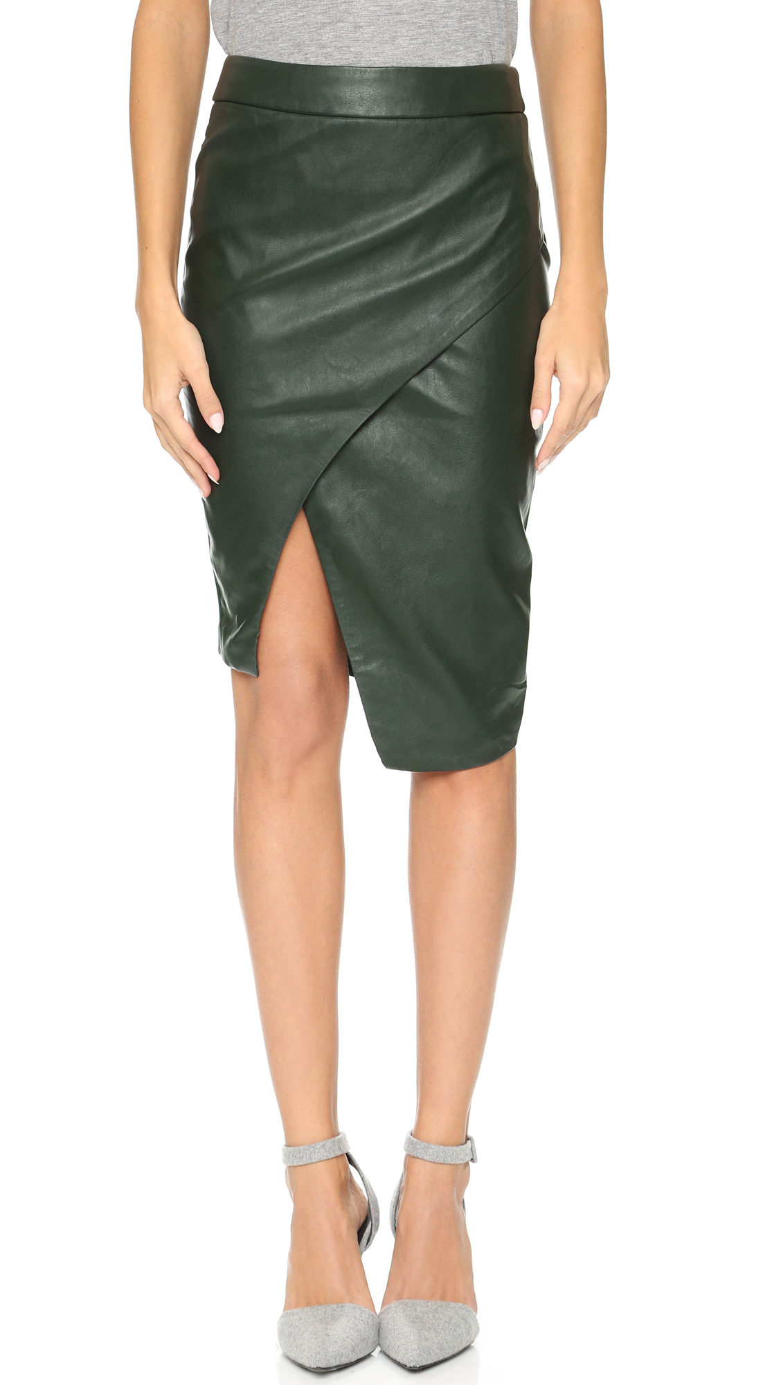 Blaque label Sculptural Faux Leather Skirt in Green | Lyst