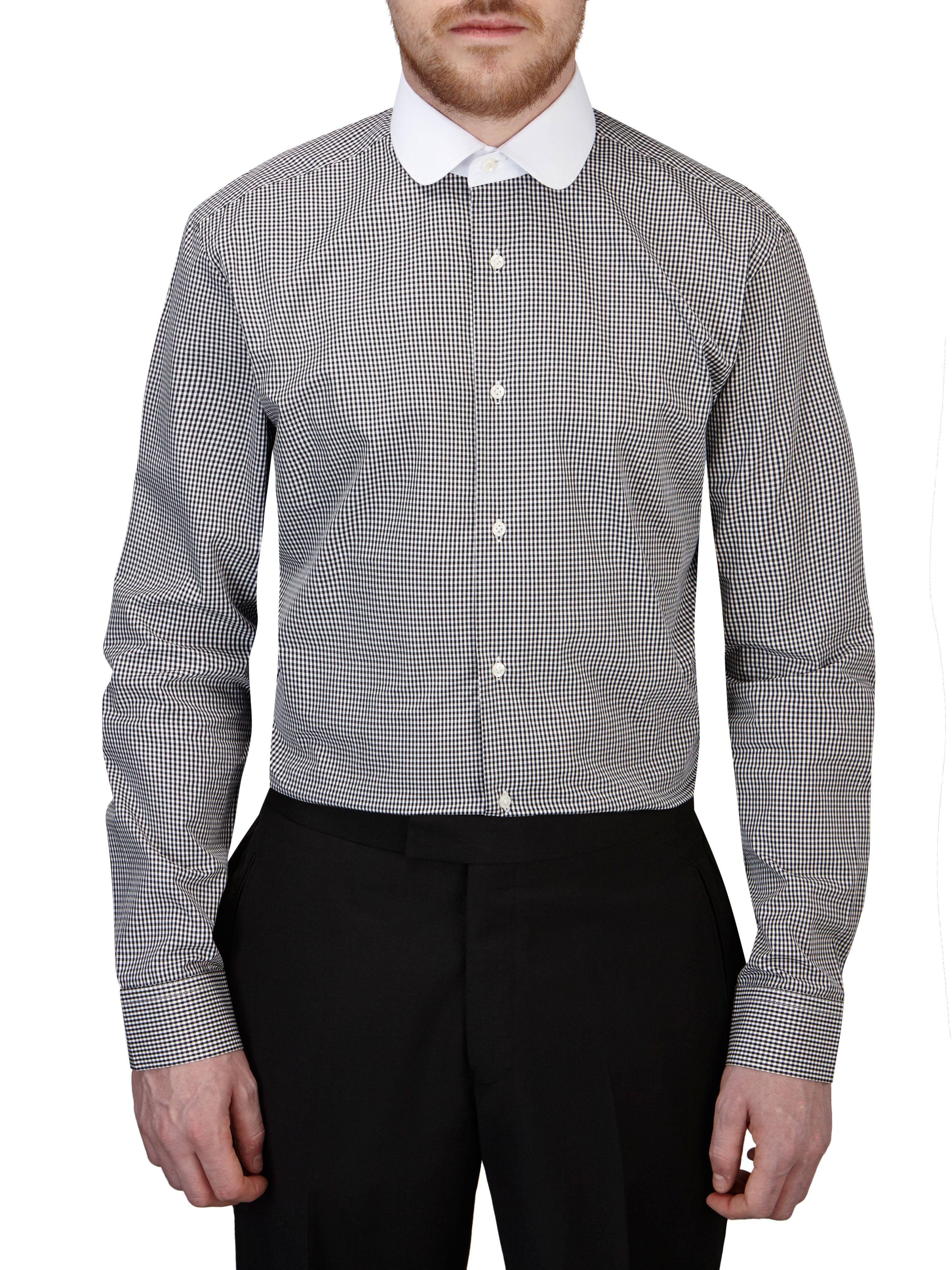Skopes check slim fit round collar formal shirt in black for Round collar shirt men