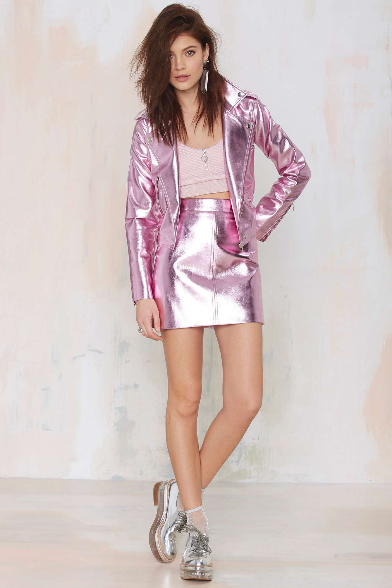 Nasty gal Pippa Lynn Super Freak Vegan Leather Mini Skirt in Pink ...