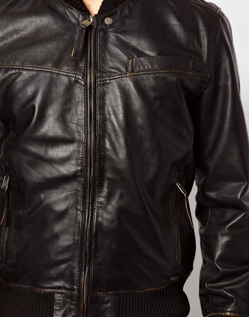 36cda13782 Pepe Jeans Pepe Leather Bomber Jacket Beat Slim Fit in Black for Men - Lyst