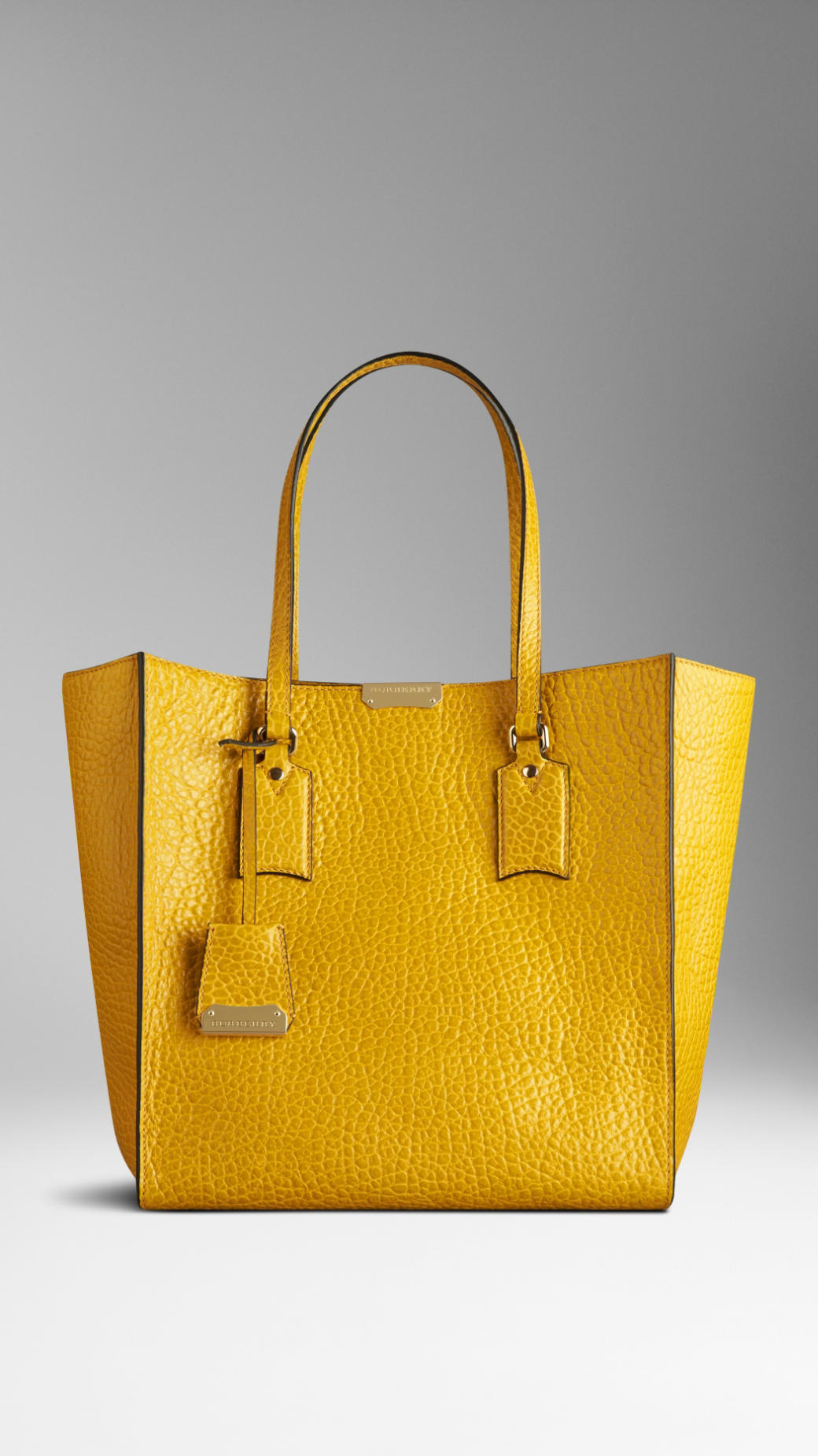 Lyst - Burberry Medium Heritage Grain Leather Tote Bag in Yellow