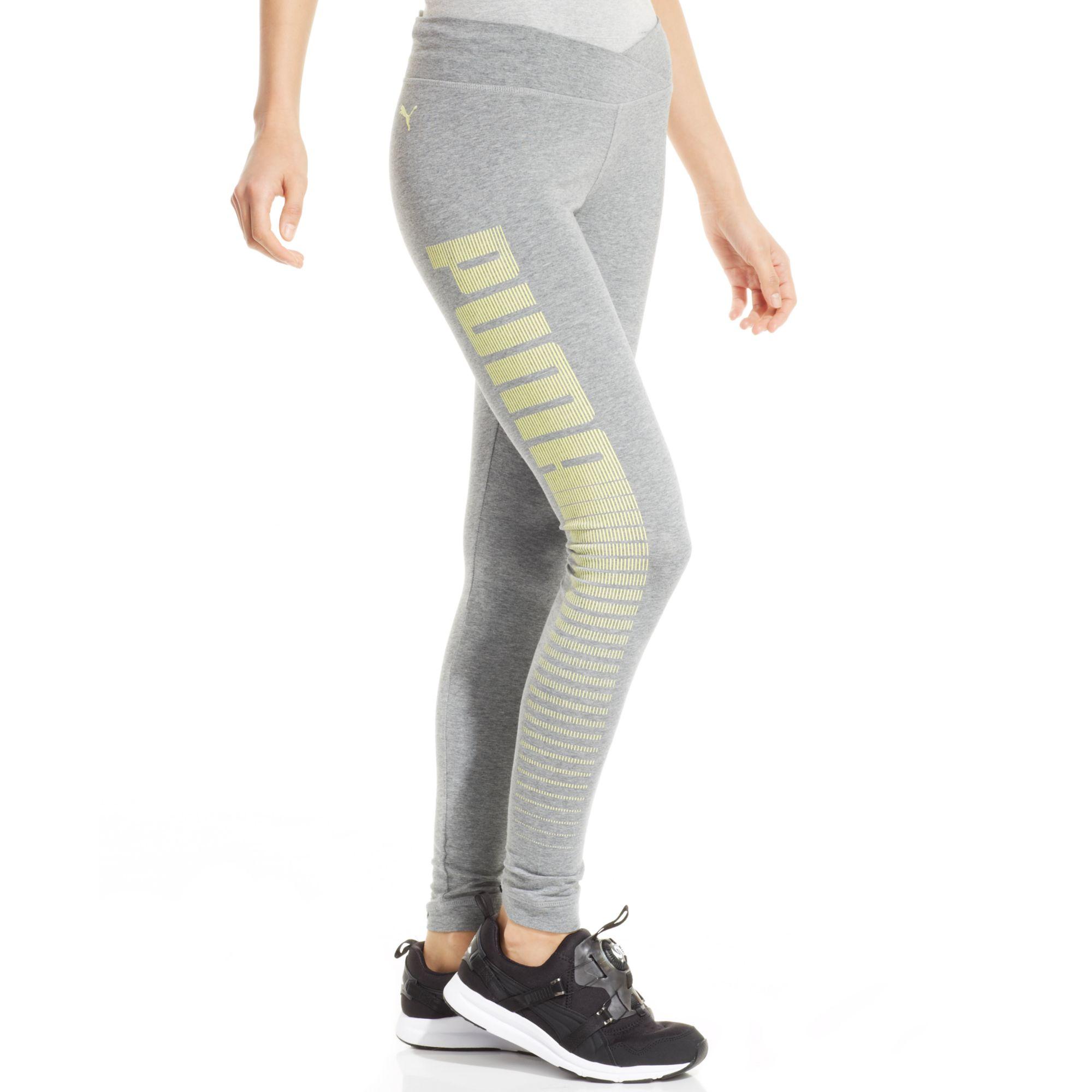Puma Logo Leggings In Gray Athletic Grey Heather Lyst