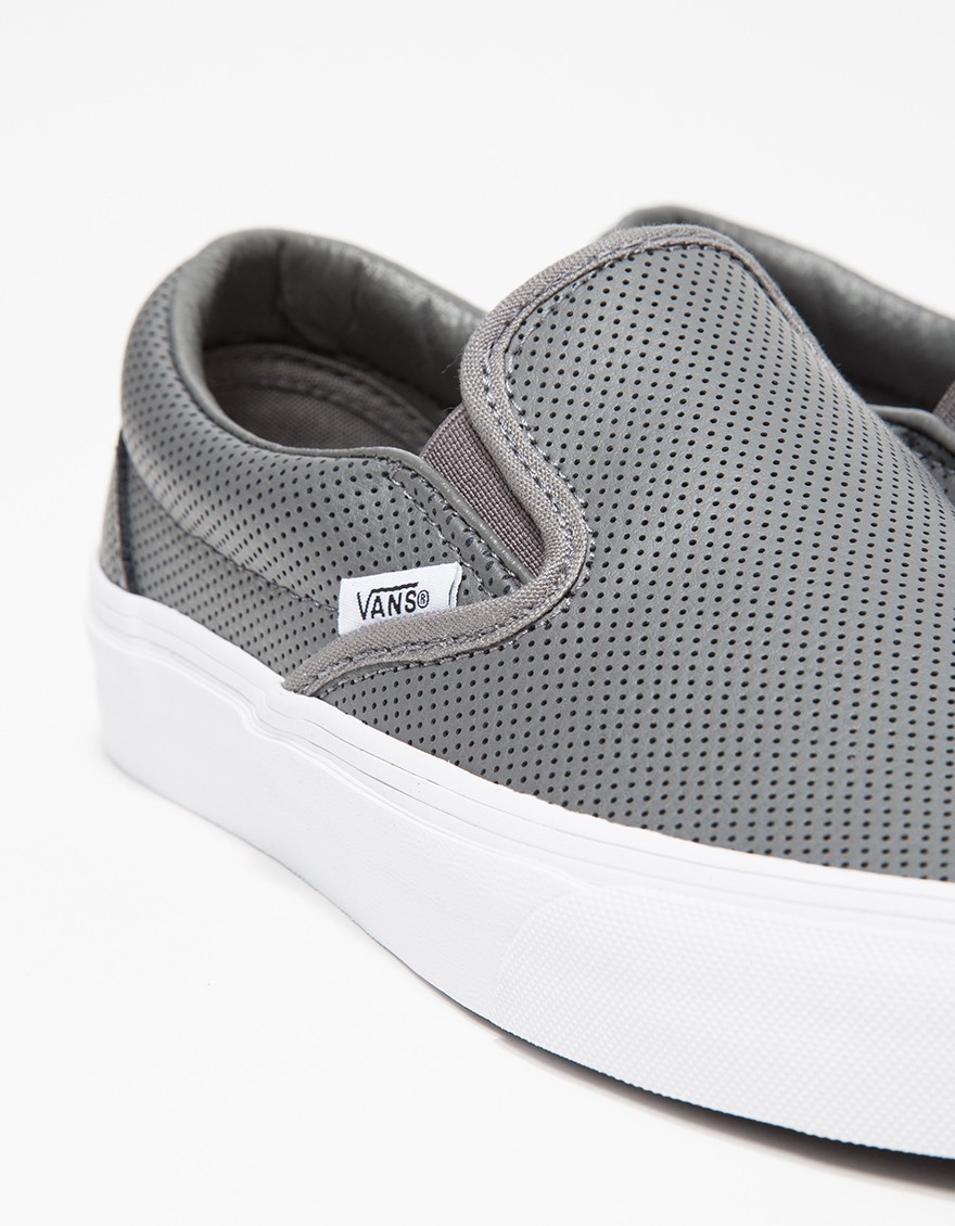 d769191700ebf6 Lyst - Vans Classic Slip-on Perf Leather in Gray