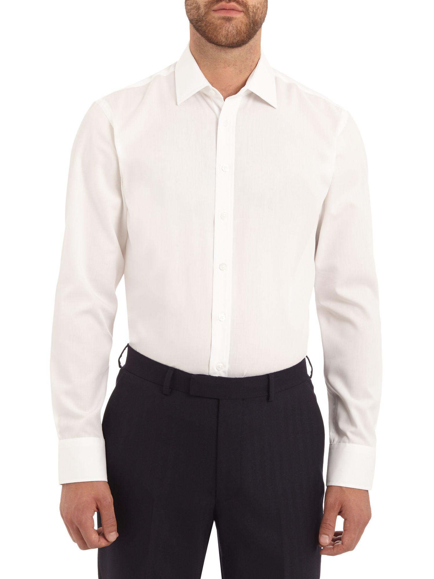 Austin reed non iron slim fit poplin shirt in white for for Slim fit non iron shirts