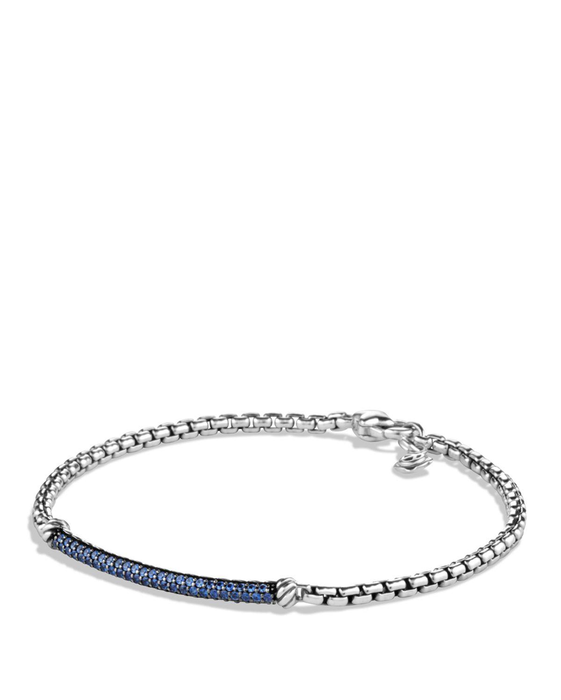 David Yurman Petite Pav 233 Bar Metro Bracelet With Blue