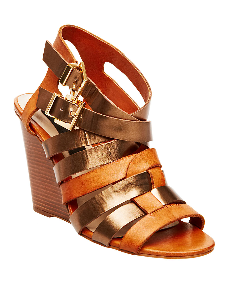 steven by steve madden midori leather wedge sandals in brown cognac. Black Bedroom Furniture Sets. Home Design Ideas