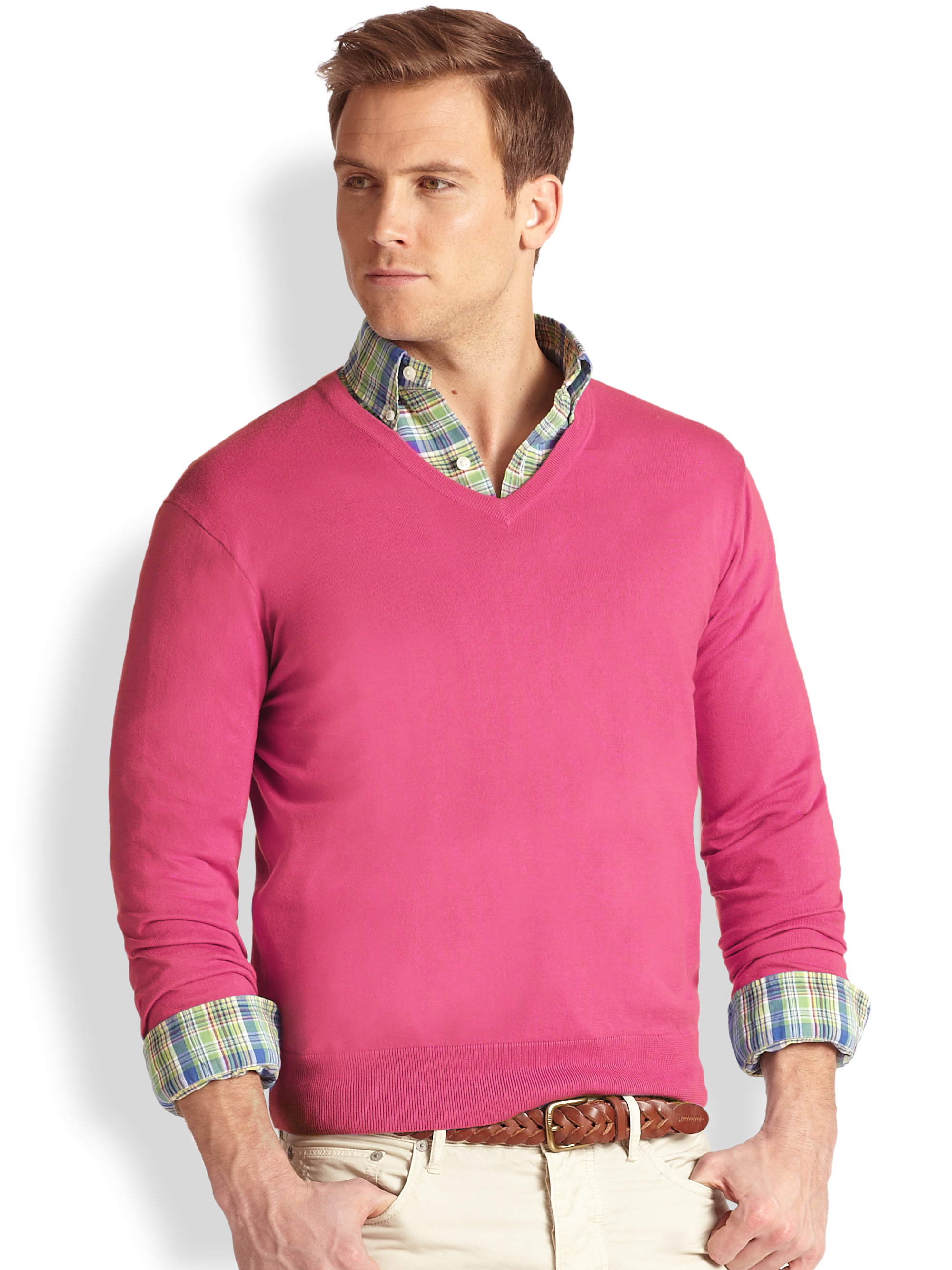 Polo ralph lauren Cotton-Cashmere V-Neck Sweater in Pink for Men ...