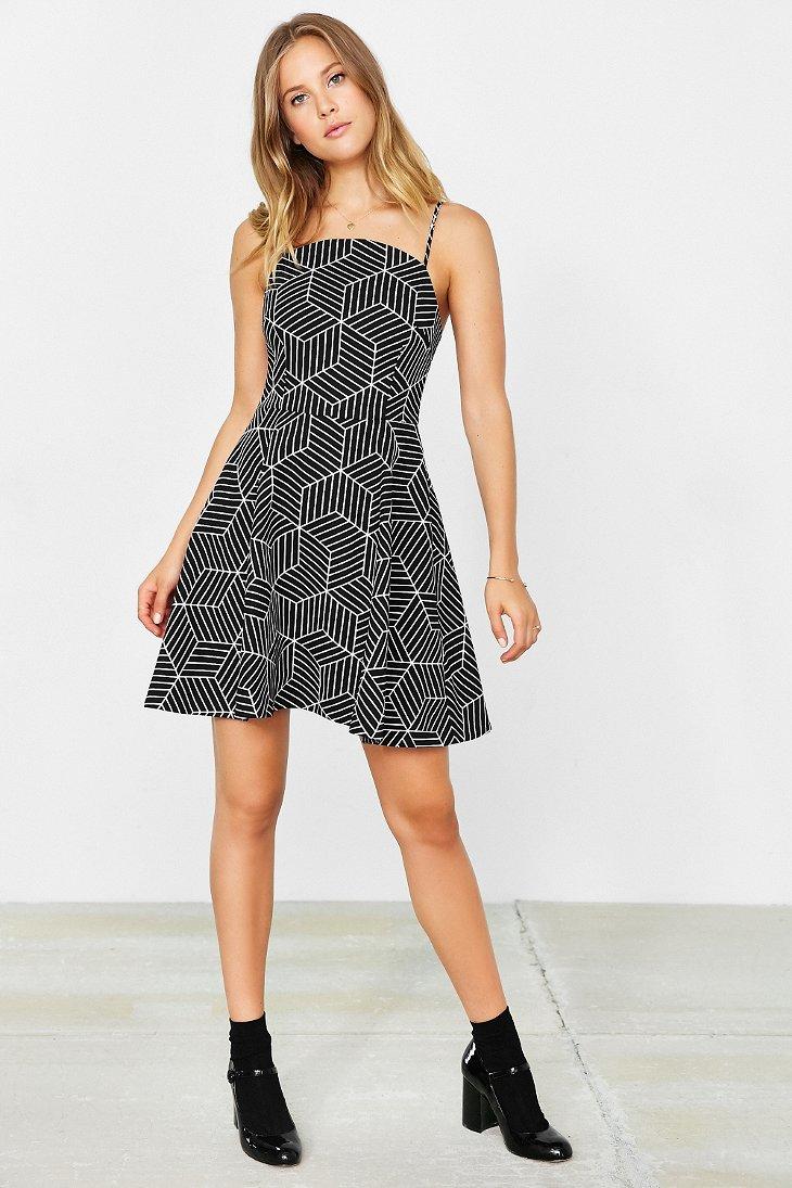 Lyst - Keepsake Luck Now Fit + Flare Mini Dress in Black