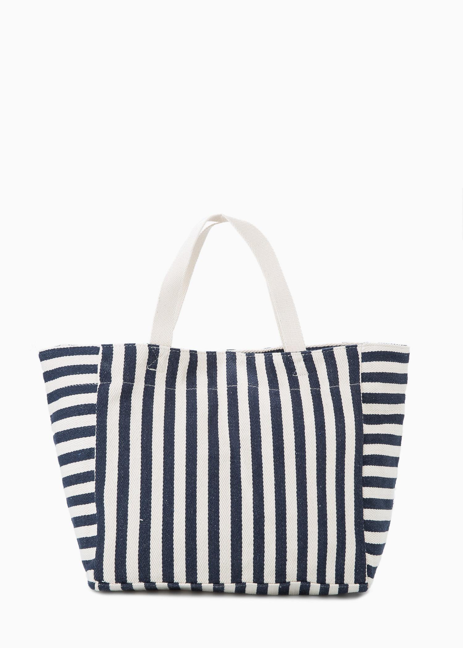 Mango Striped Cotton Shopper Bag in Blue | Lyst