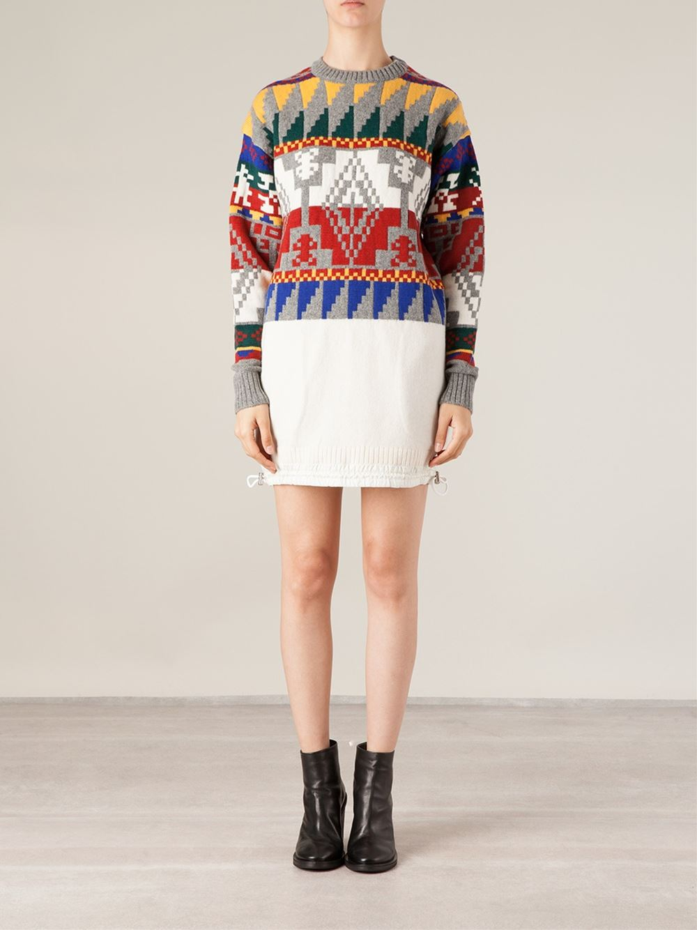Lyst - Sacai Aztec Pattern Knitted Dress in Gray