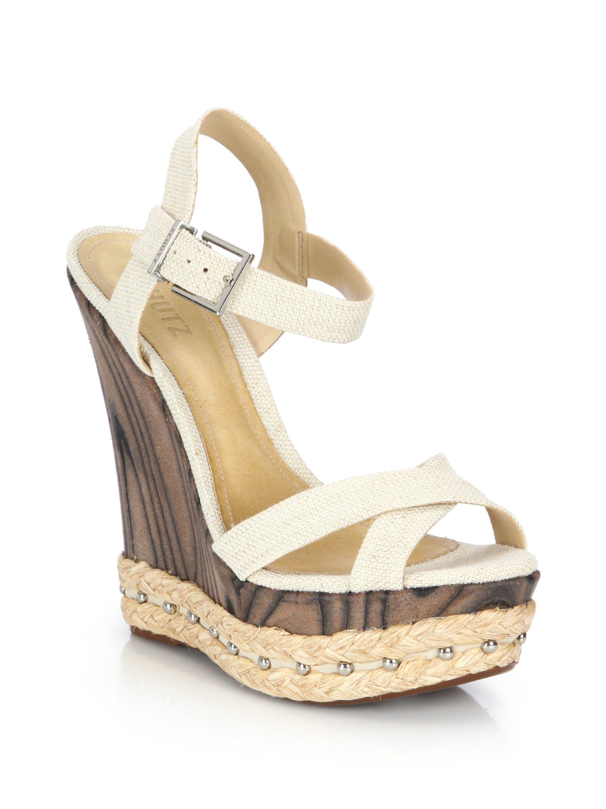Schutz Fiore Mixed Media Platform Wedge Sandals In Gray Lyst