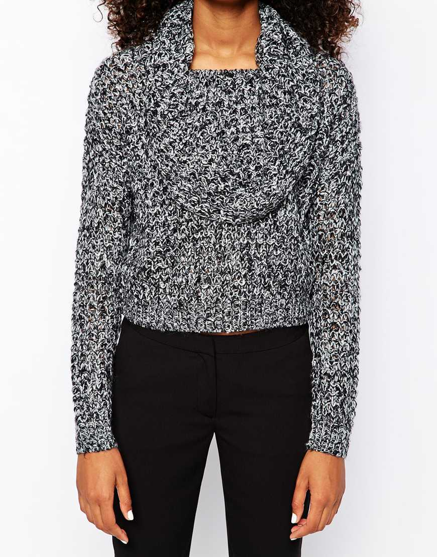 Vero Moda Knitting Yarns : Vero moda fluffy knit jumper in gray lyst