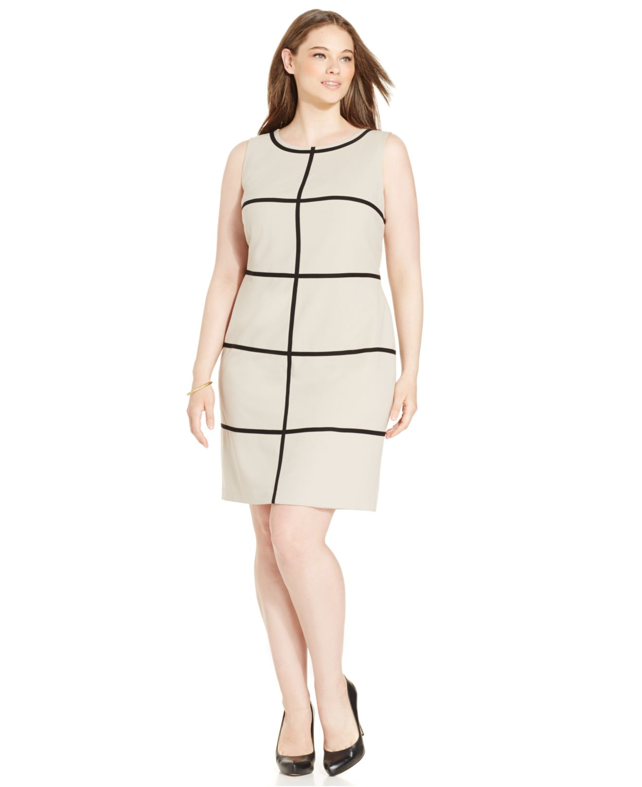 Calvin klein Plus Size Striped Sheath Dress in Natural | Lyst