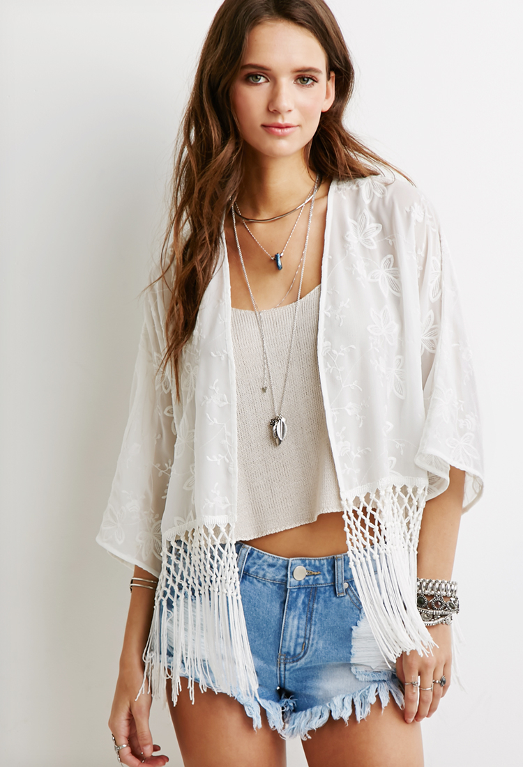 Forever fringed floral embroidered kimono in natural lyst
