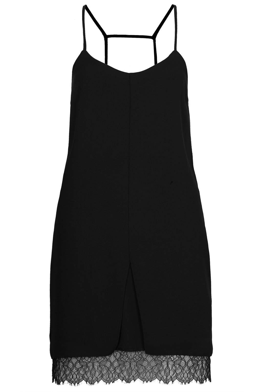Topshop Lace Hem Slip Dress in Black | Lyst
