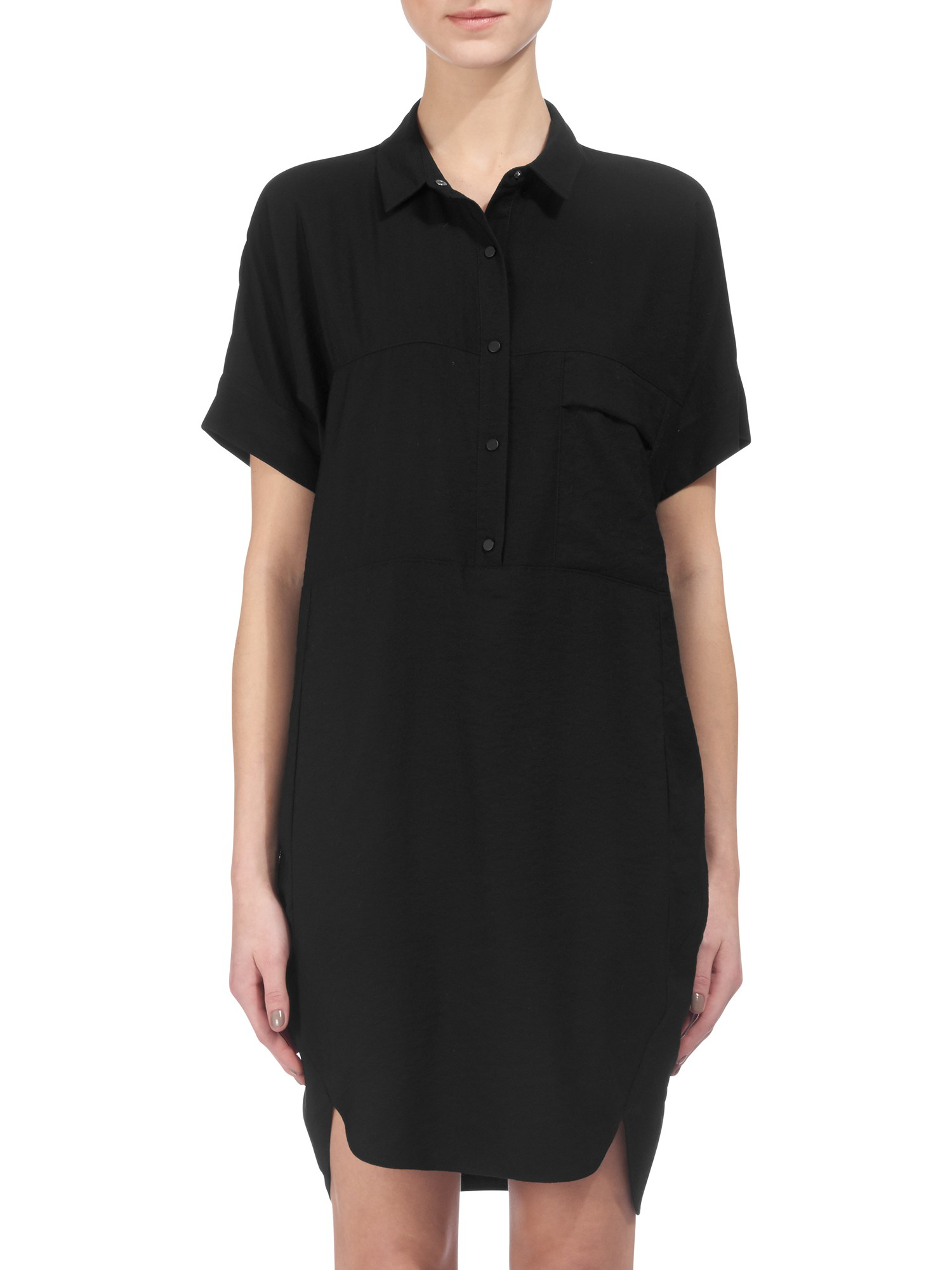 Whistles Leena Button Front Shirt Dress In Black Lyst