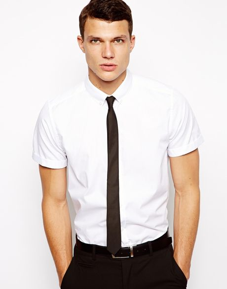 Asos smart shirt in short sleeve with button down collar for White short sleeve button down shirts for men