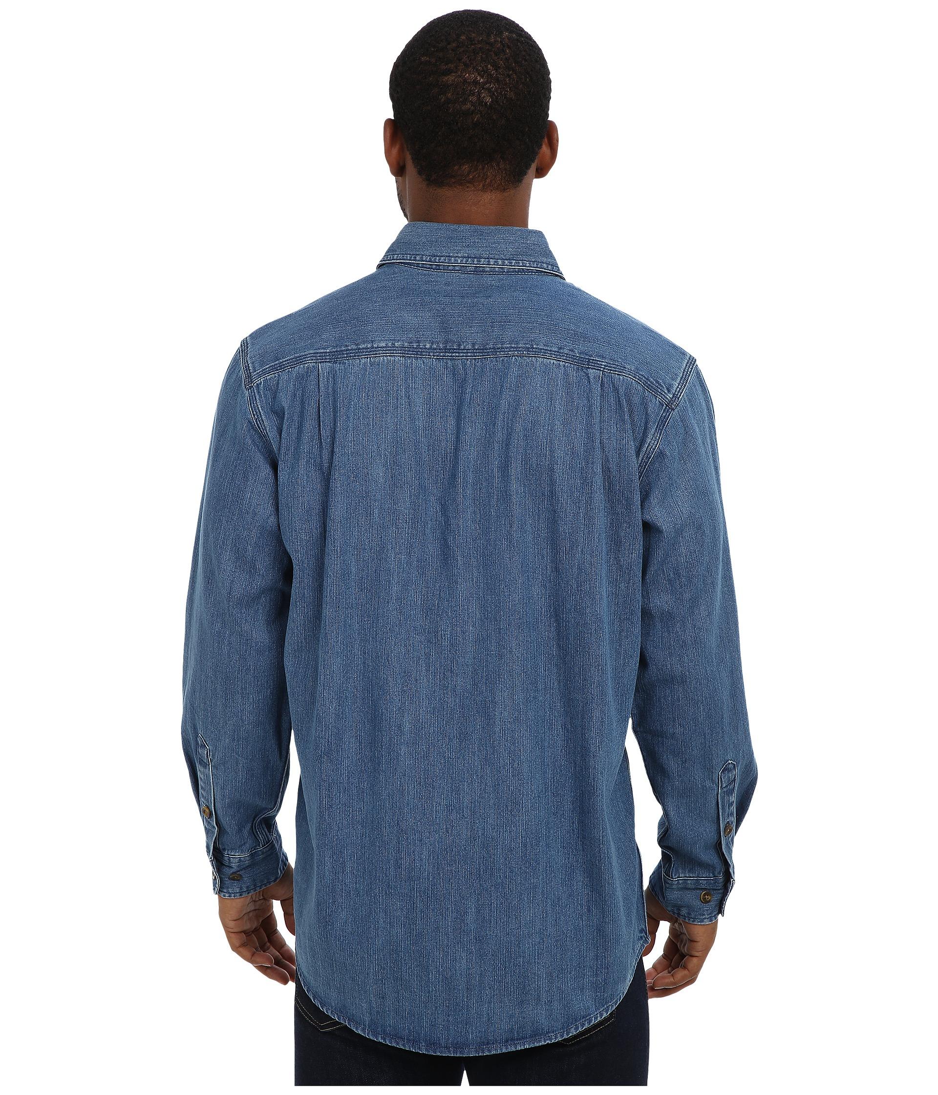 Lyst carhartt washed denim work shirt in blue for men for Mens denim work shirt