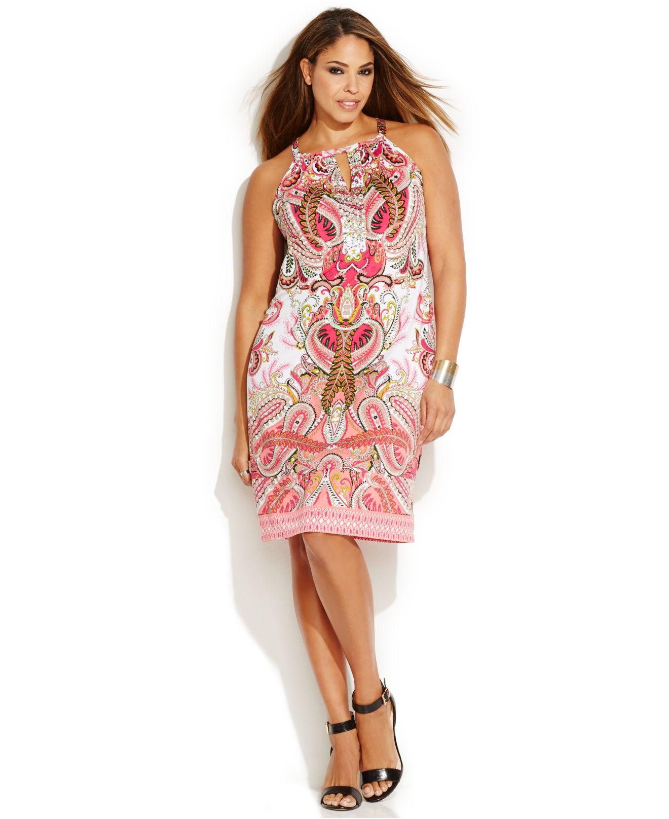 Inc international concepts Plus Size Printed Keyhole Halter Dress ...