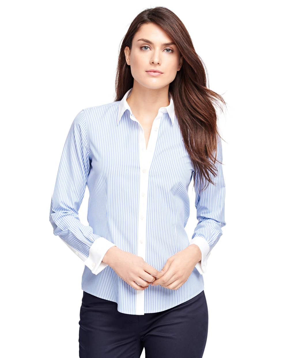Lyst brooks brothers non iron tailored fit stripe dress for Tailored fit dress shirts