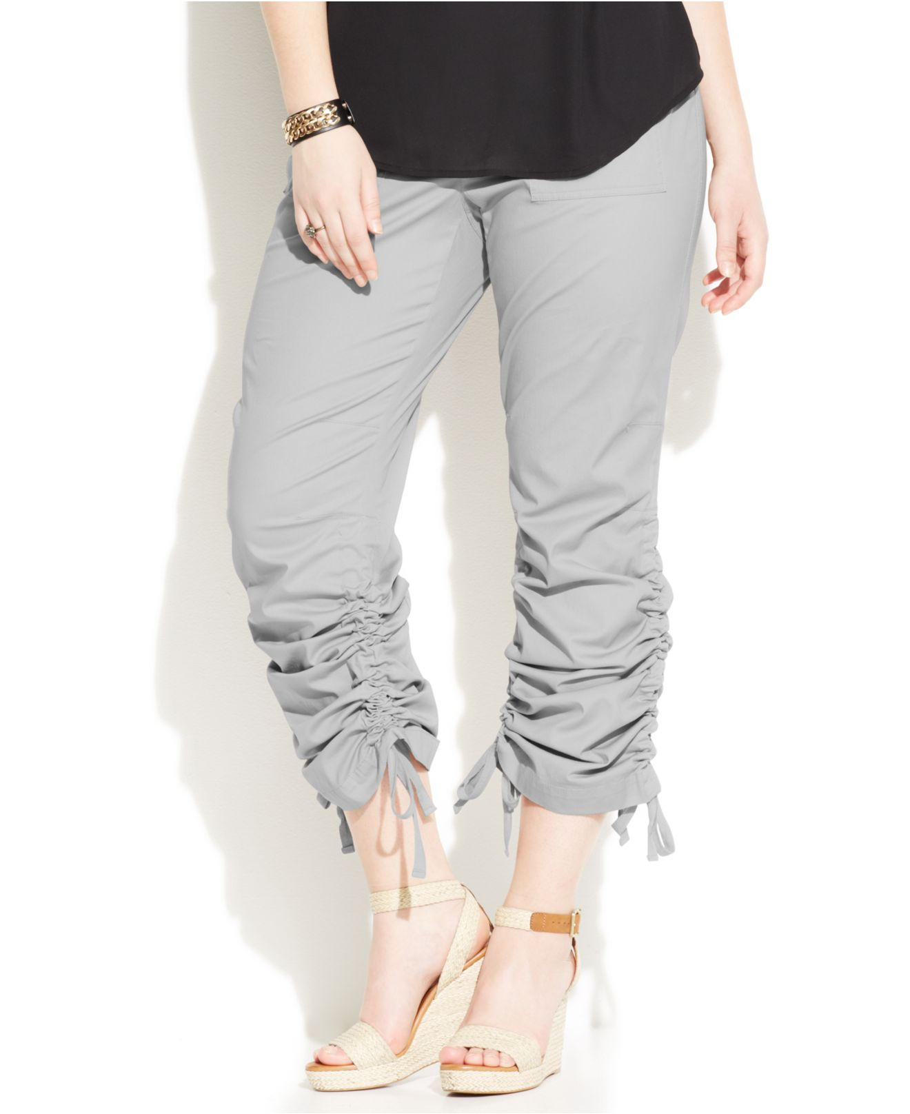 4c452d036c536 Lyst - Inc International Concepts Plus Size Ruched-Cuff Cargo Pants ...