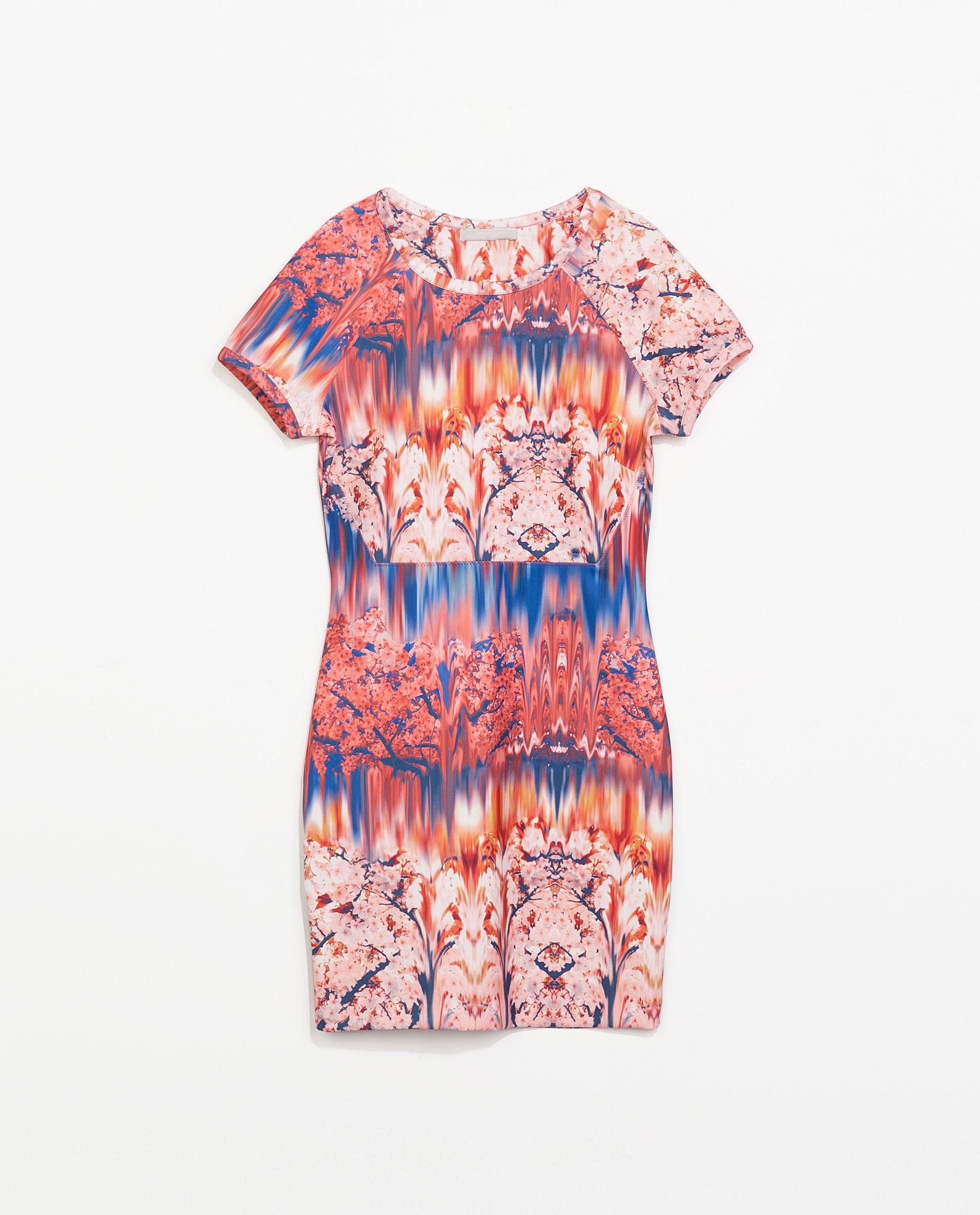 Zara Neoprene Printed Dress In Pink Lyst