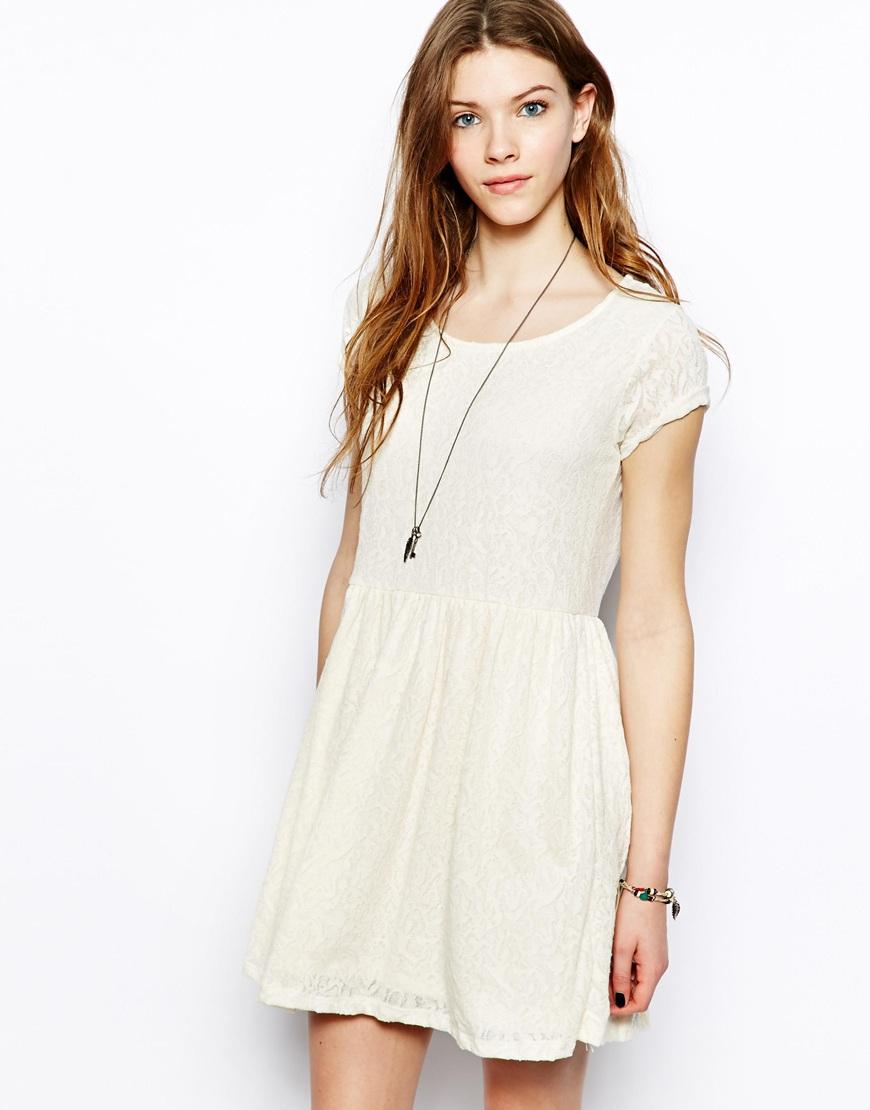 Pull&bear Short Sleeve Skater Dress in White   Lyst
