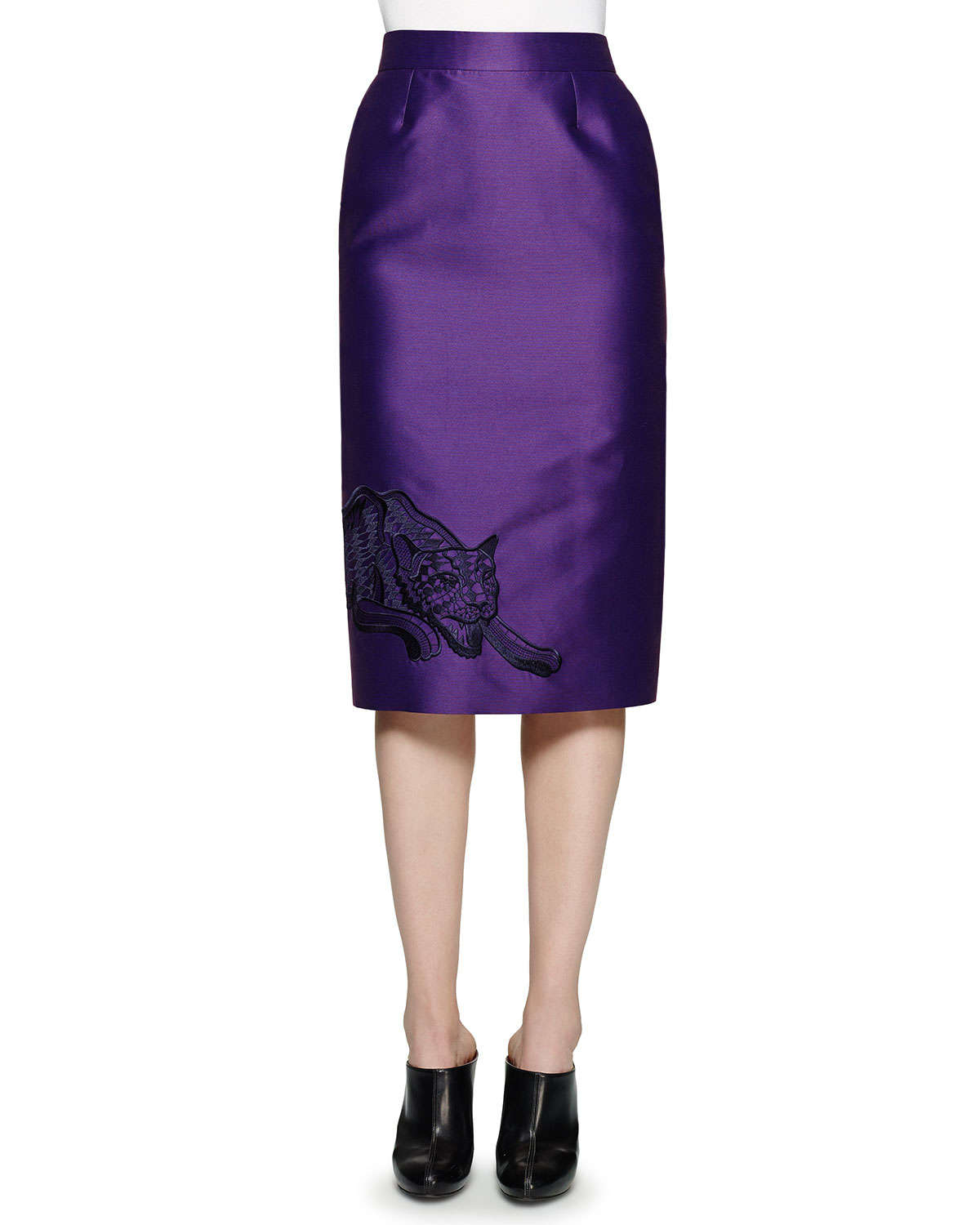 stella mccartney embroidered cat pencil skirt in purple lyst