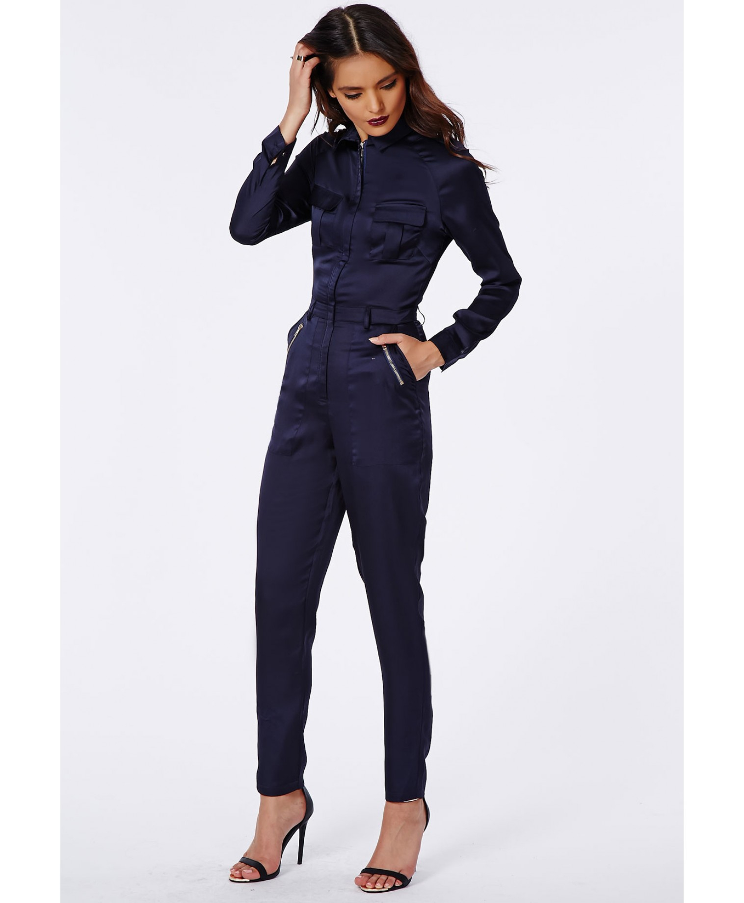 31207a010 Missguided Annabelle Utility Style Long Sleeve Jumpsuit Navy in Blue ...