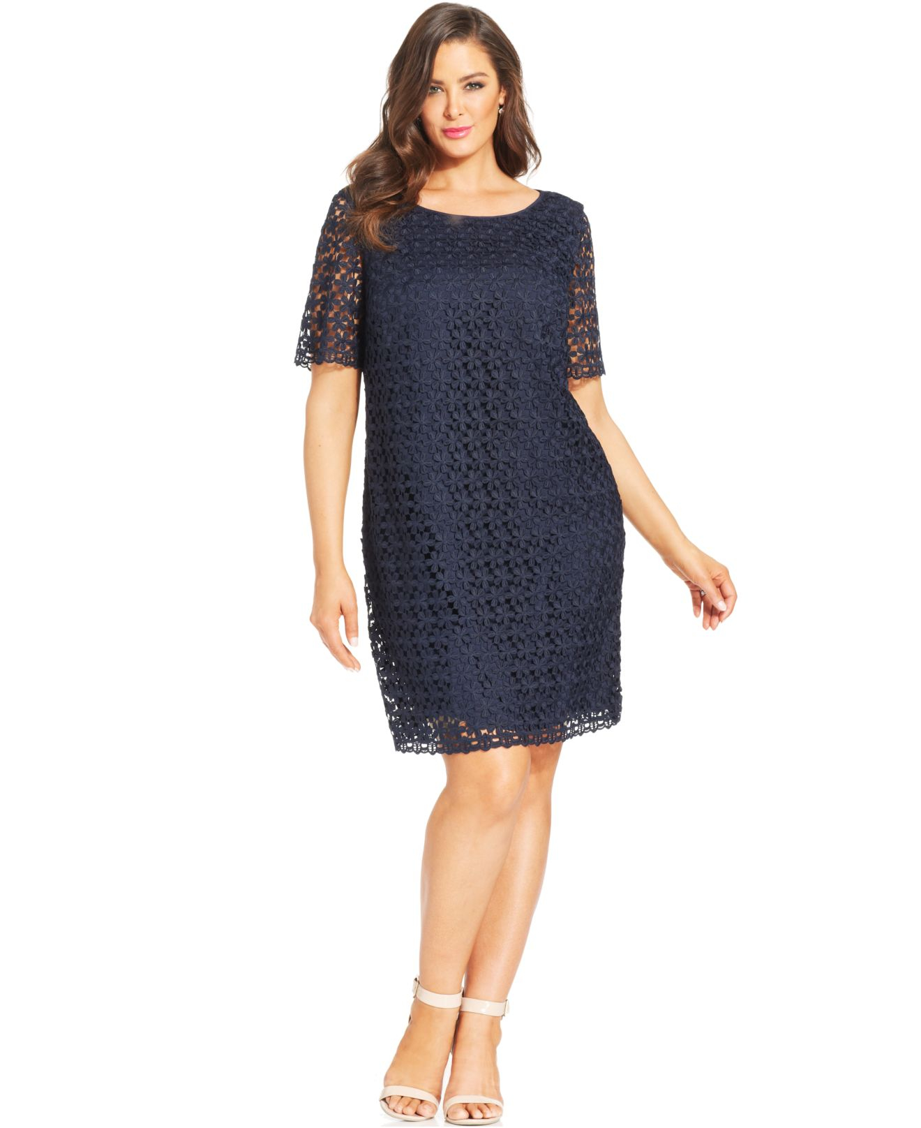 Tahari Asl Plus Size Elbow-Sleeve Lace Sheath in Blue (Navy) | Lyst