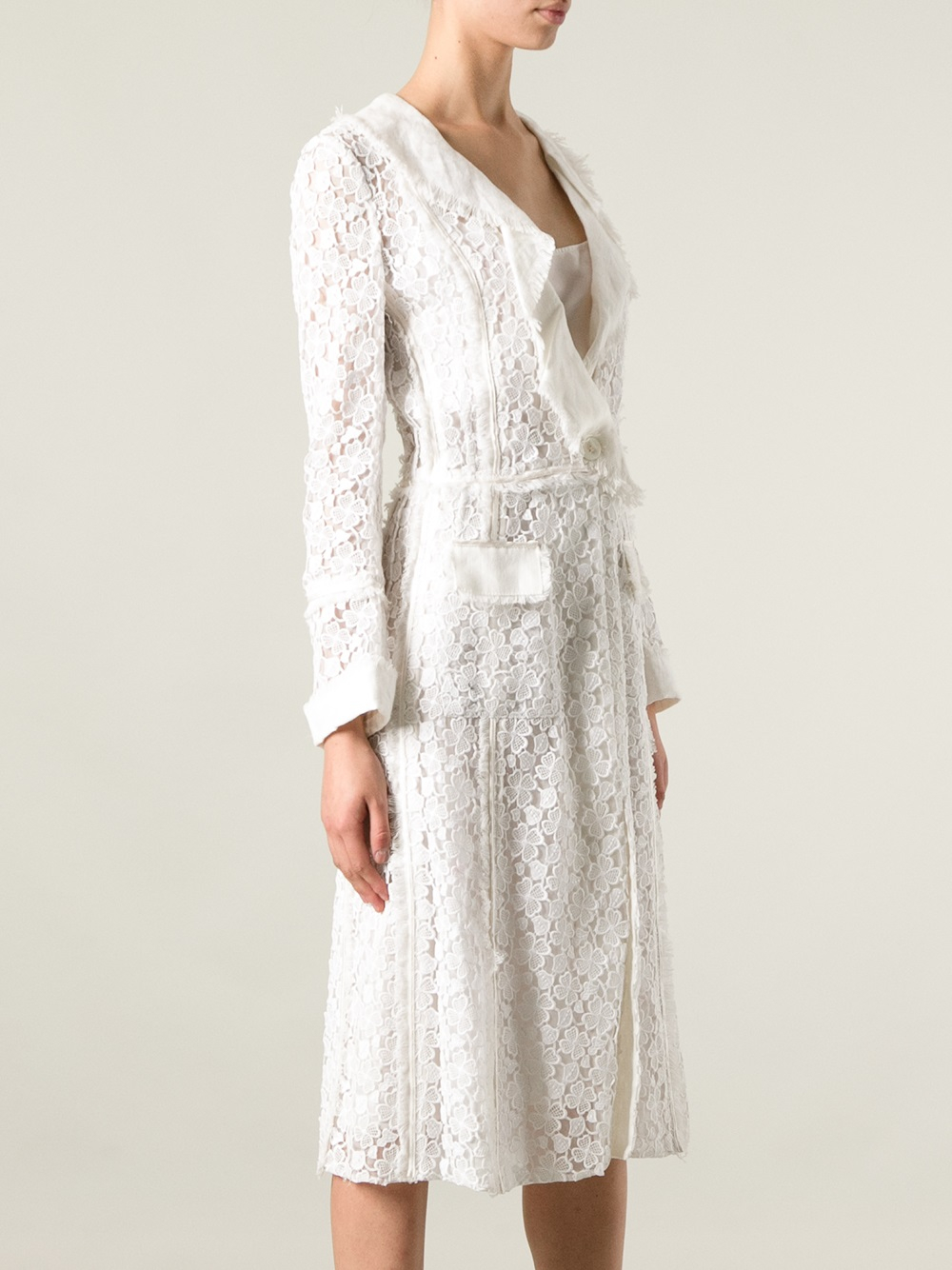 Lyst Dolce Amp Gabbana Lace Wrap Dress In White